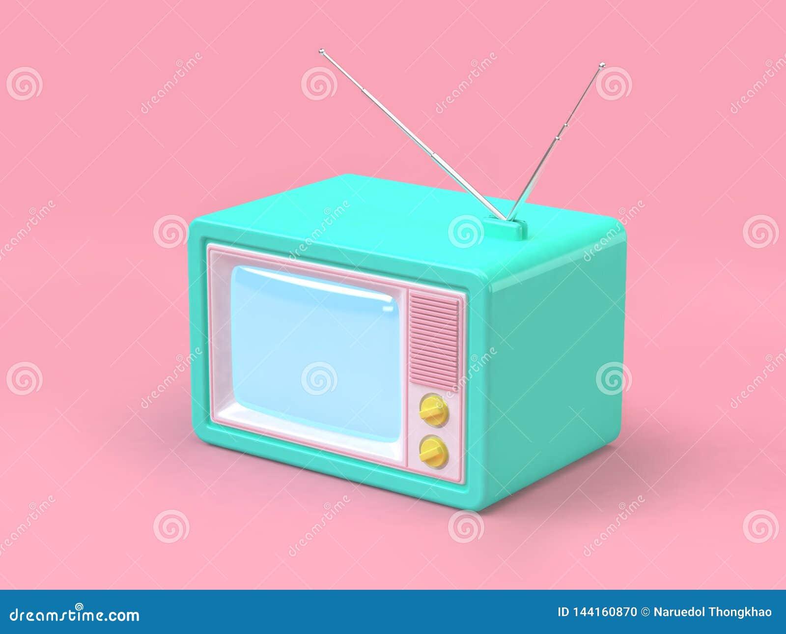 El viejo estilo de la historieta de la televisión en el concepto mínimo rosado 3d de la tecnología del fondo rinde