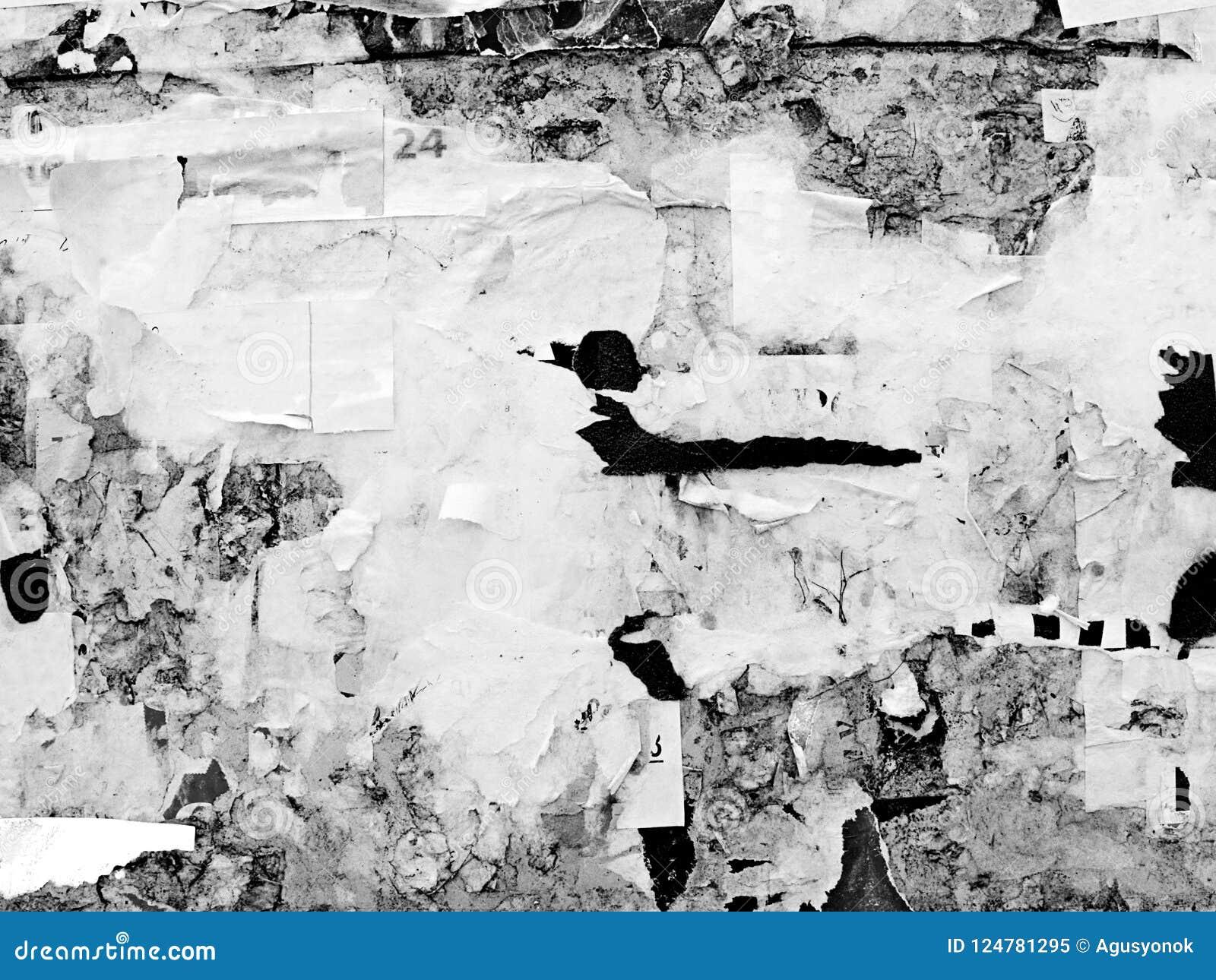 El viejo Grunge publicitario rasguñado del vintage empareda el papel de cartel rasgado cartelera, capítulo urbano Crumpl arrugado
