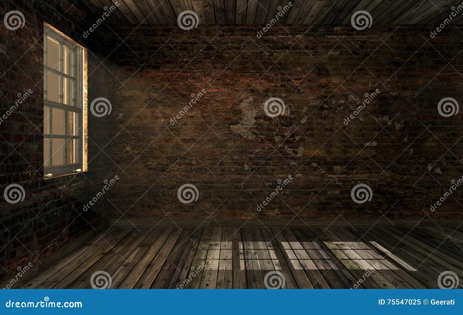 El viejo sitio abandonado oscuro vacío con la pared de ladrillo agrietada vieja y el suelo de parqué viejo con el volumen se enci