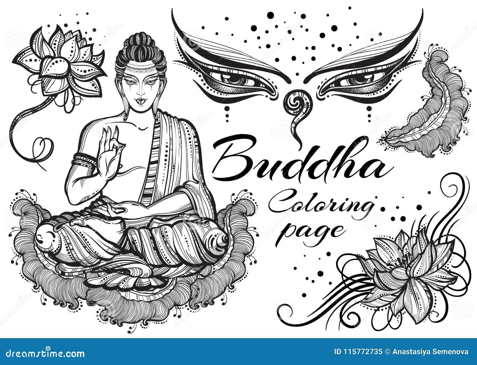 El vintage Buda gráfico fijó con los elementos sagrados budistas Concepto religioso Arte de alta calidad del vector aislado