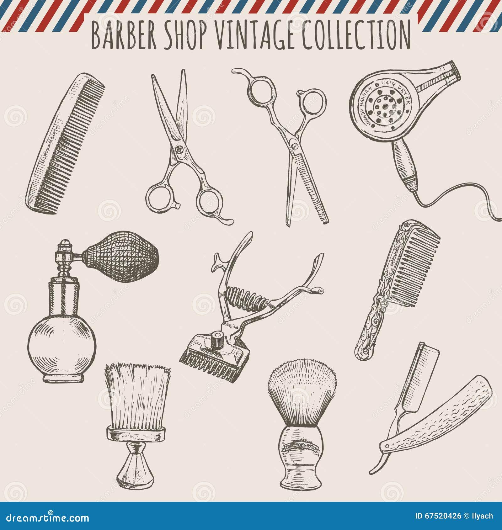 El vintage de la peluquería de caballeros del vector equipa la colección Ejemplo dibujado mano del lápiz
