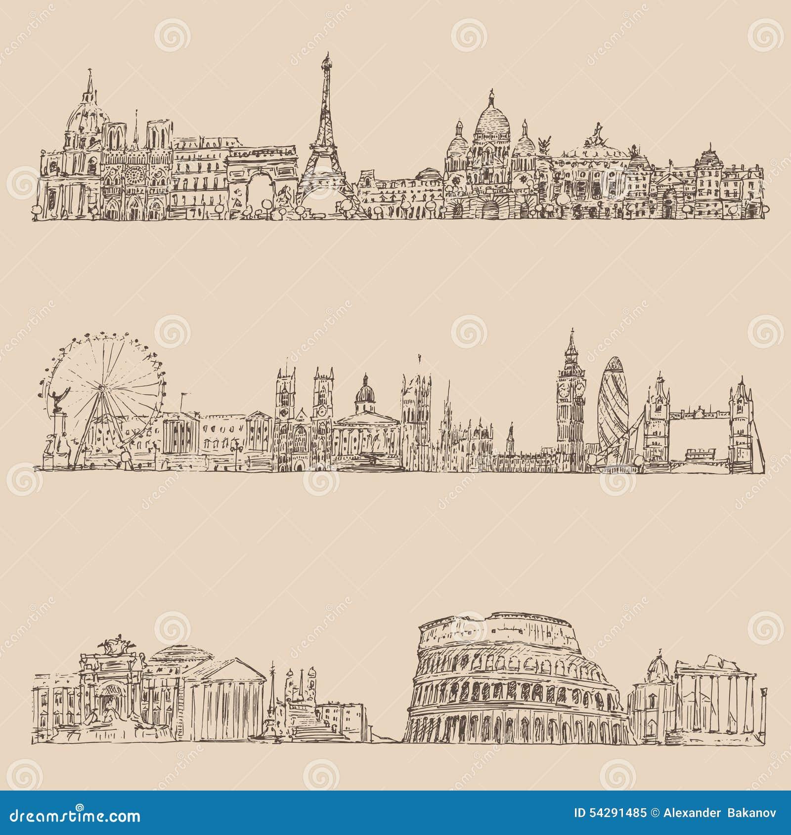 El vintage determinado de la ciudad (Londres, París, Roma) grabó el ejemplo, mano dibujada