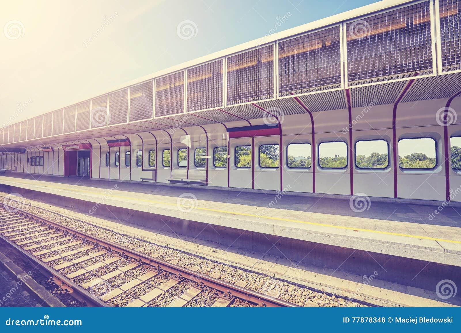 El Vintage Entonó El Ferrocarril Vacío Foto de archivo