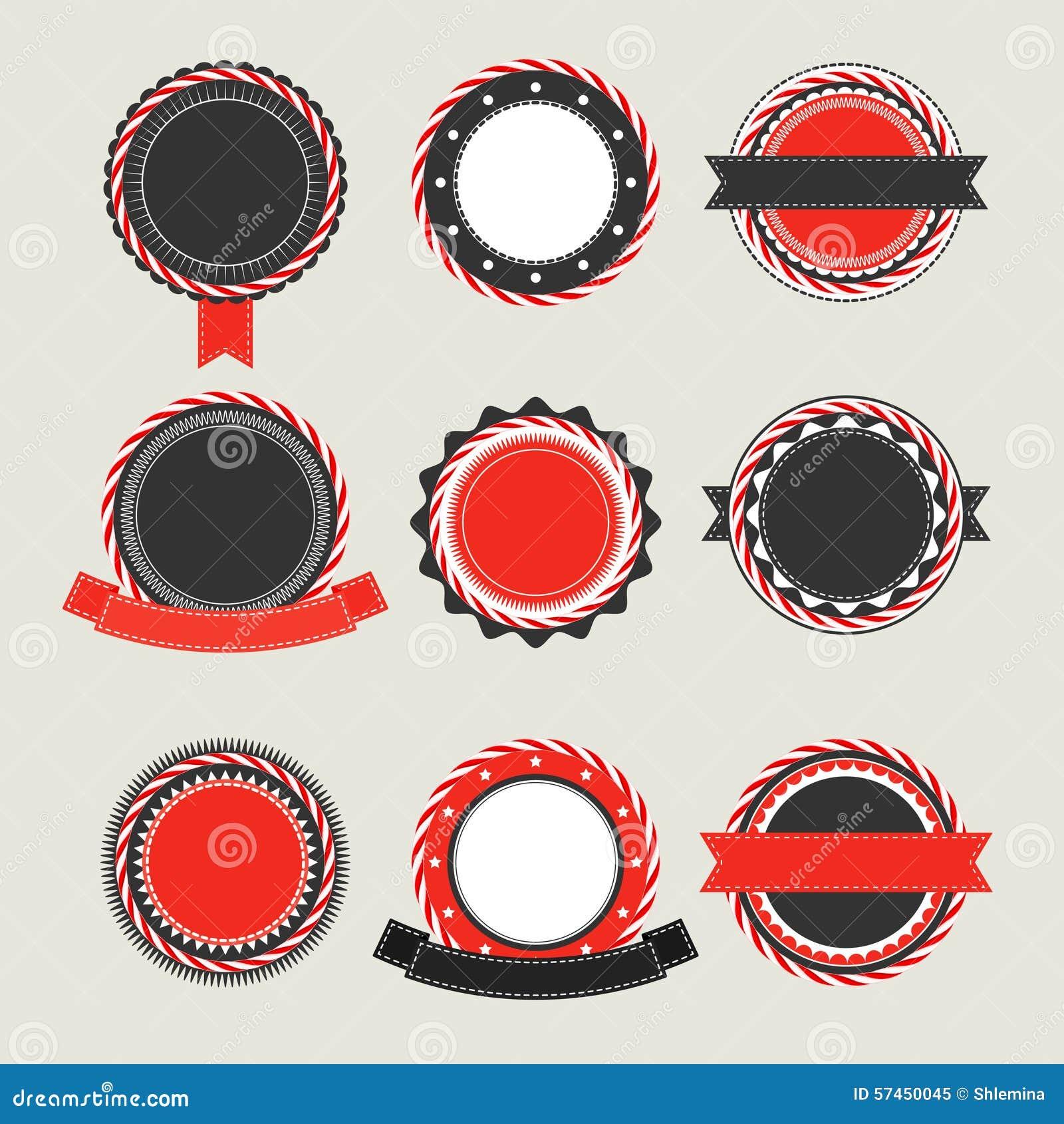 El Vintage Negro Y Rojo Badges Plantillas Ilustración del Vector ...