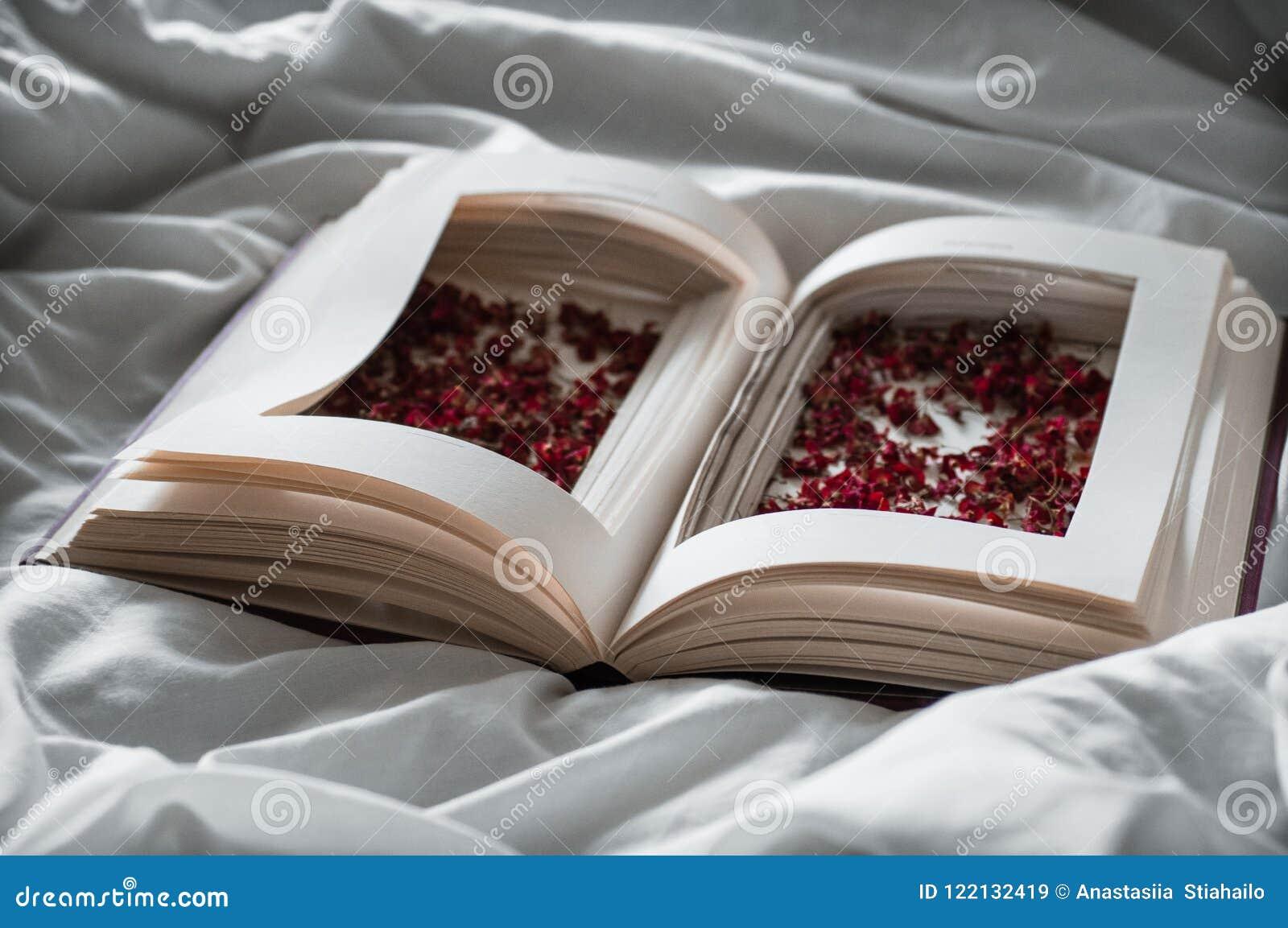 El vintage reserva con las flores rojas secadas en una cama blanca Nostálgico del concepto y fondo del vintage de la conmemoració