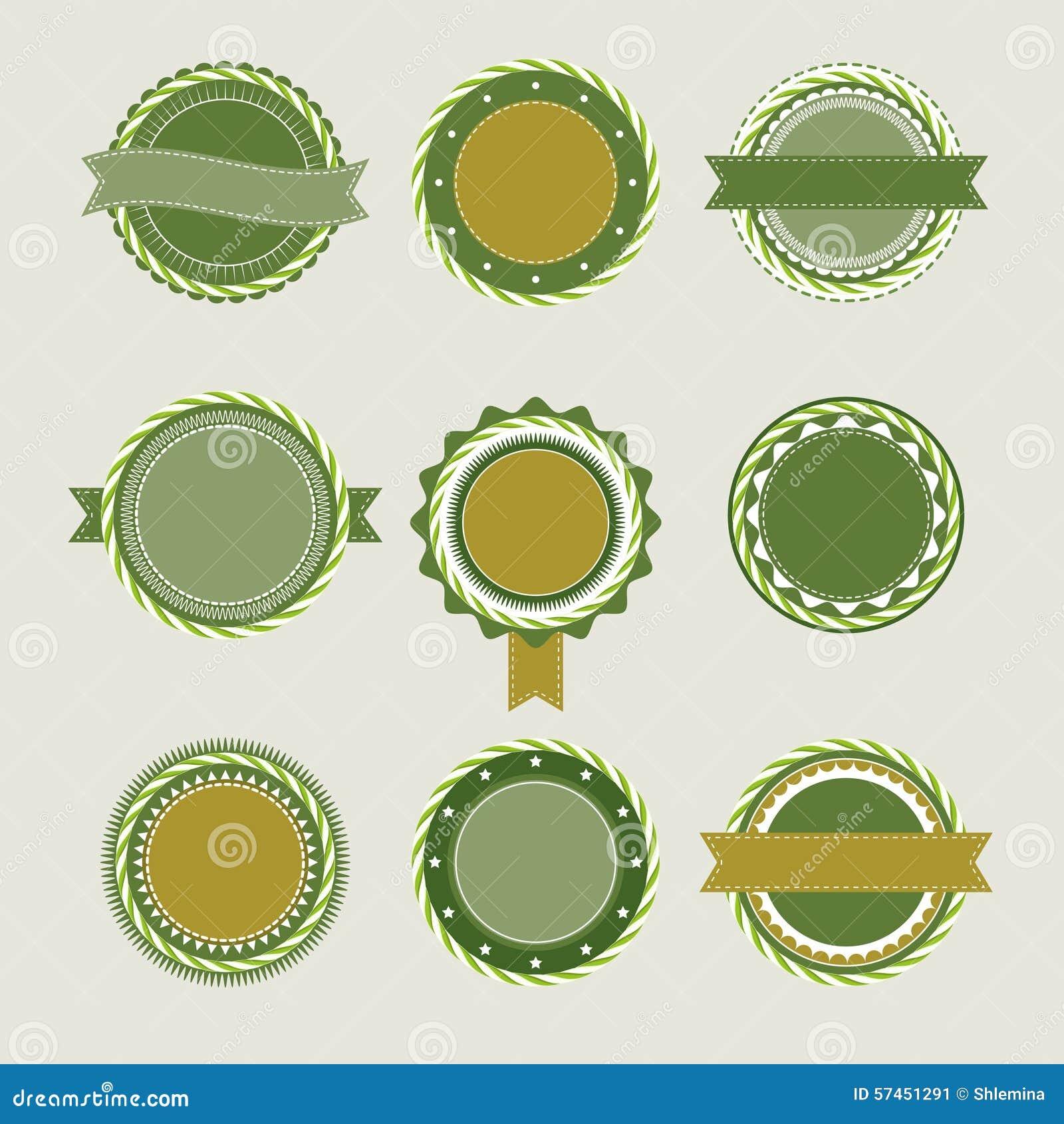 El Vintage Verde Badges Plantillas Ilustración del Vector ...
