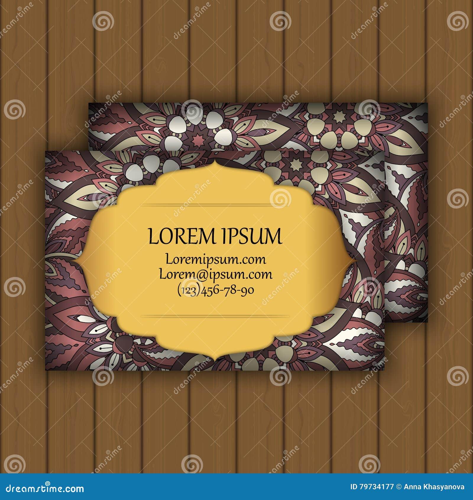 El visitar del vintage del vector o sistema de la tarjeta de visita Modelo y ornamentos florales de la mandala