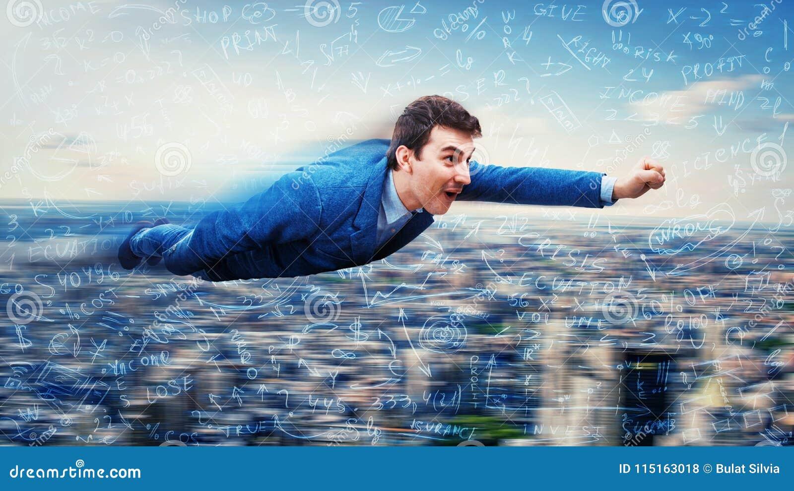 El vuelo del hombre de negocios le gusta un super héroe
