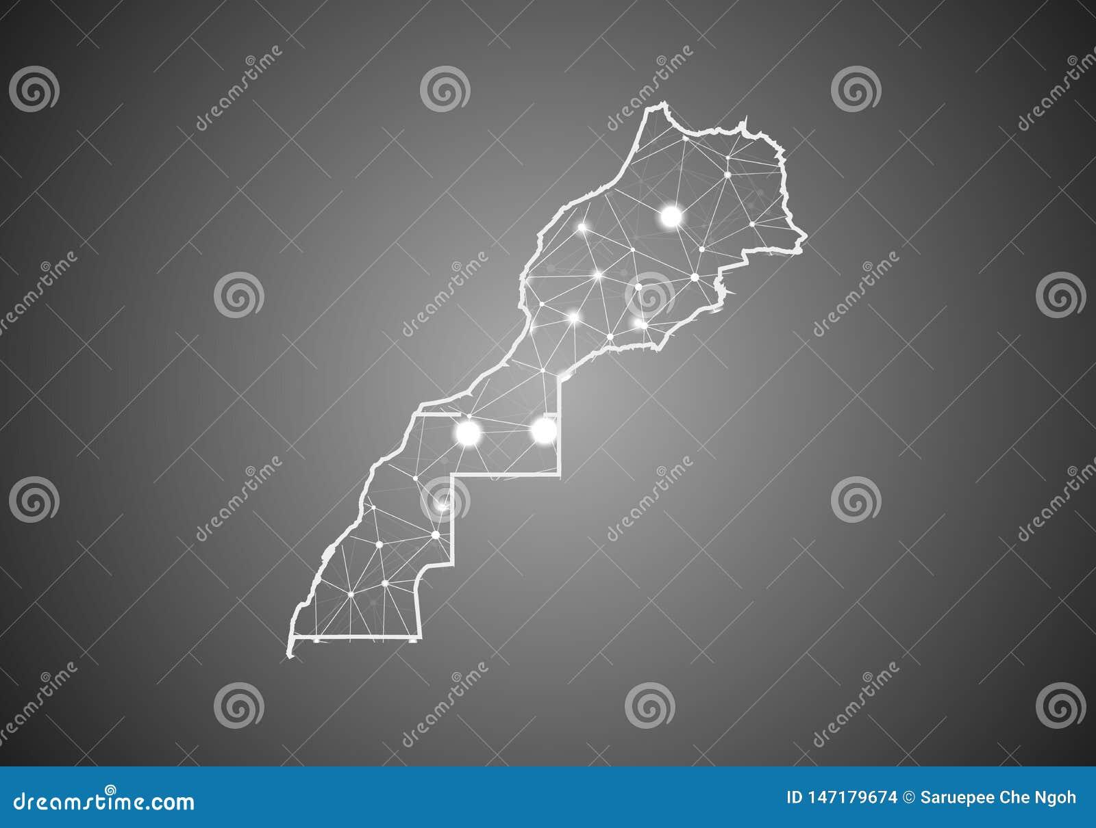El wireframe del vector enreda poligonal del mapa de Marruecos Western Sahara Estructura global abstracta de la conexi?n Mapa con