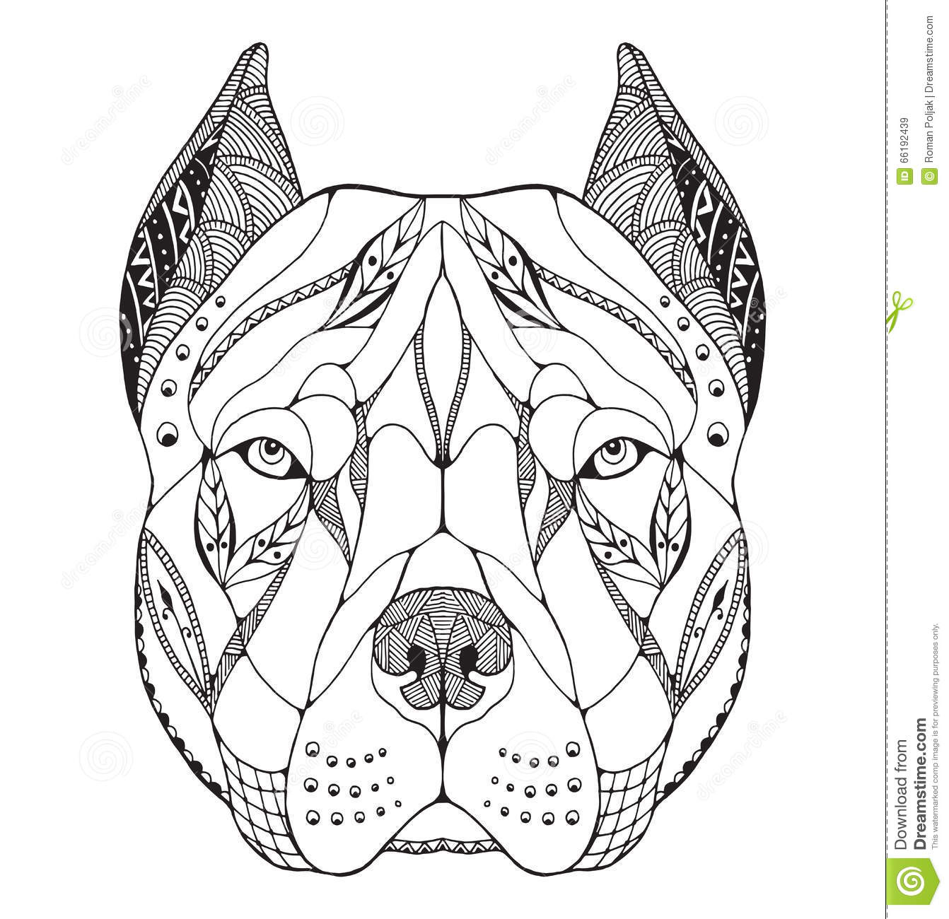 El Zentangle De La Cabeza Del Terrier De Pitbull Estilizó, Vector ...