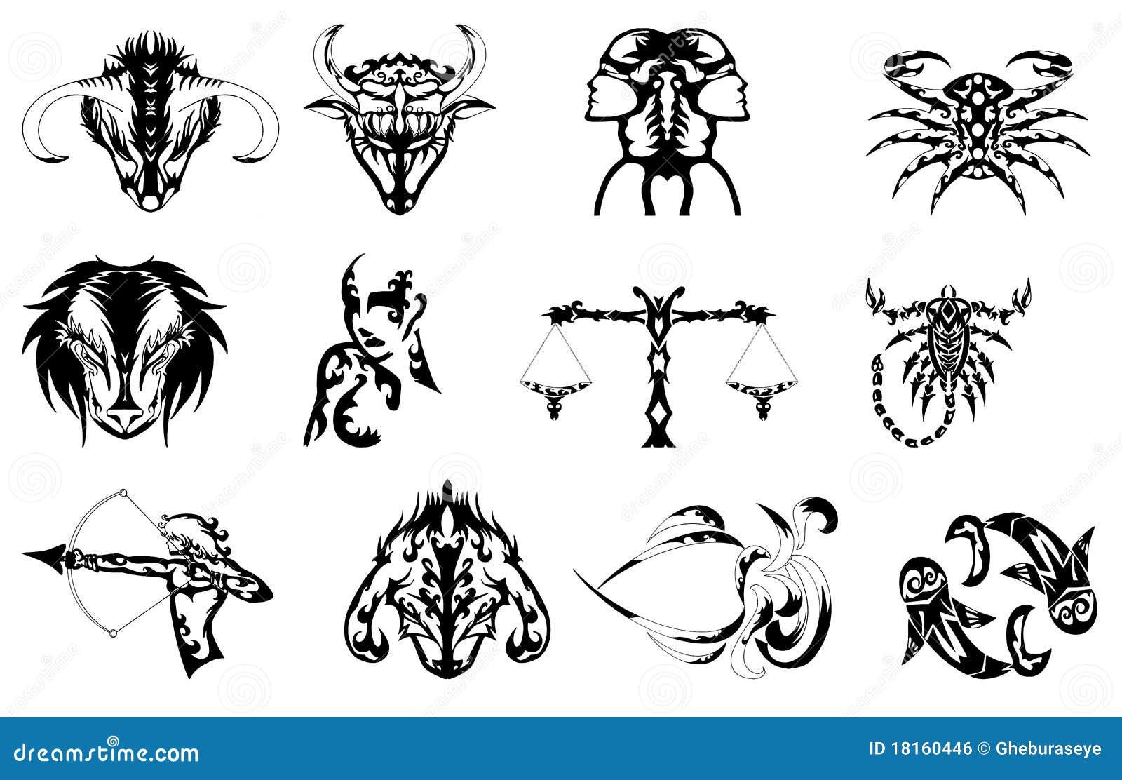 El Zodiaco Firma El Tatuaje Ilustracion Del Vector Ilustracion De