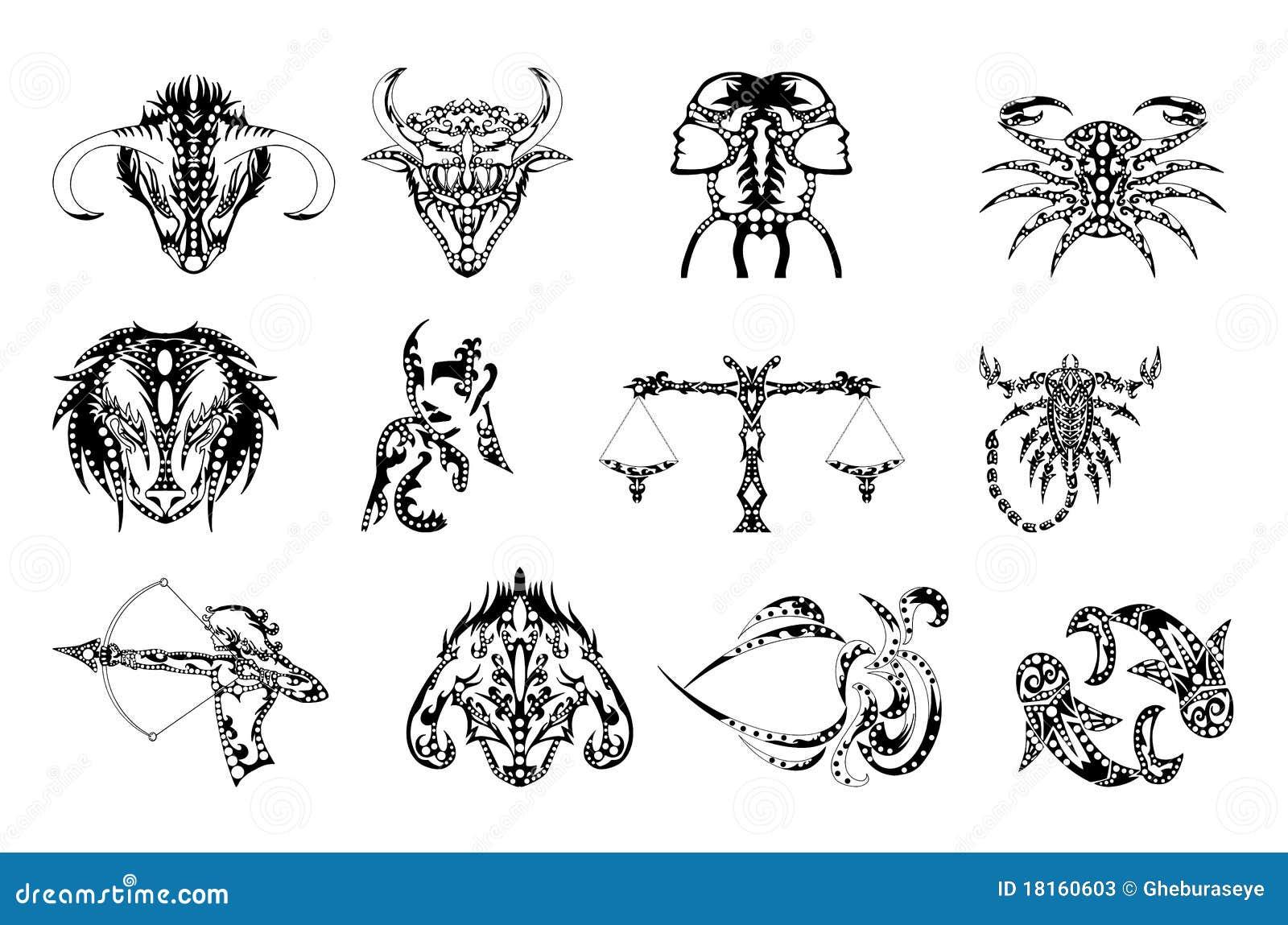 El Zodiaco Firma El Tatuaje Fotos De Archivo Imagen