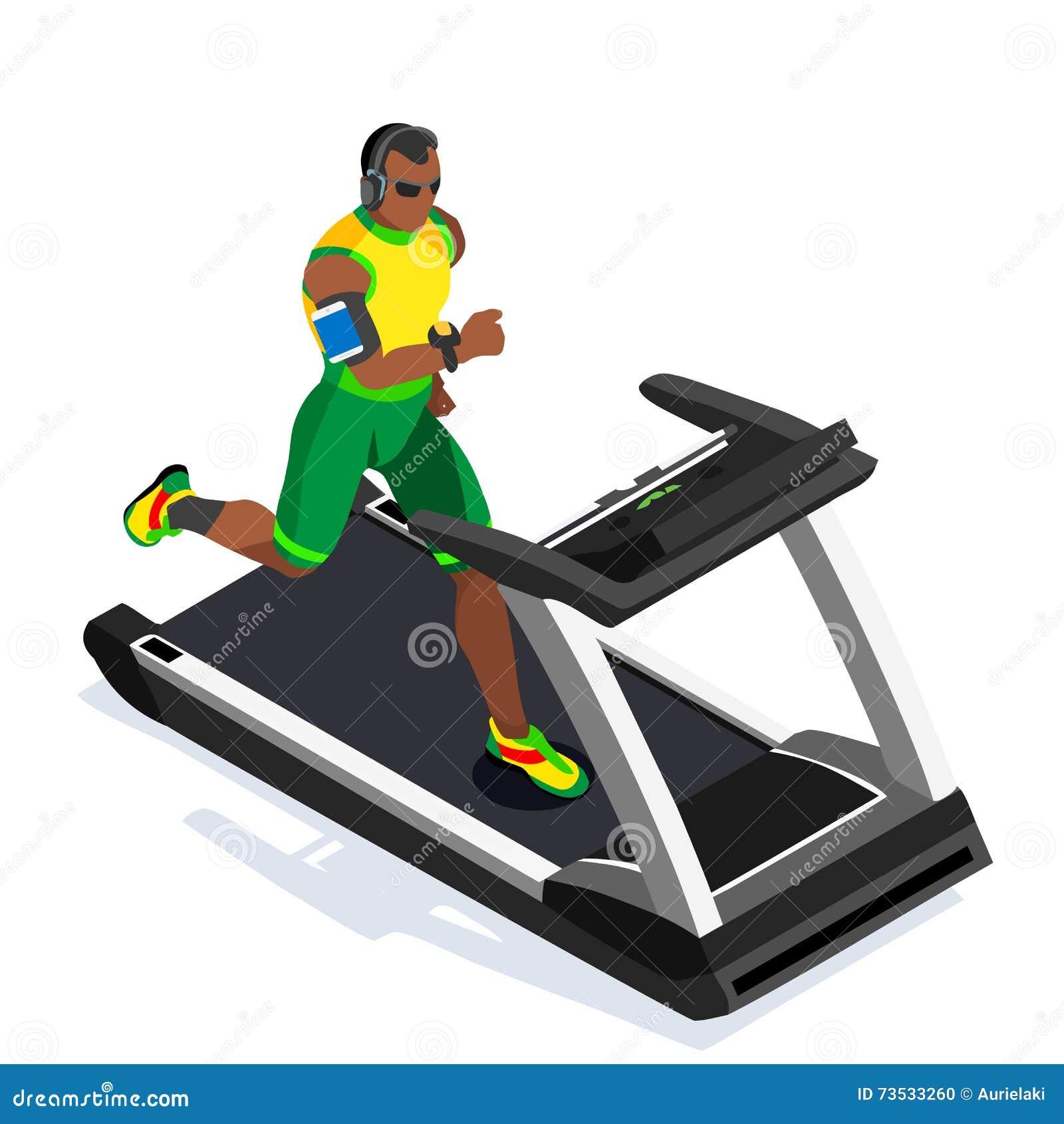Elaboración de la clase del gimnasio de la rueda de ardilla Clase corriente del gimnasio de Runners Working Out del atleta de la