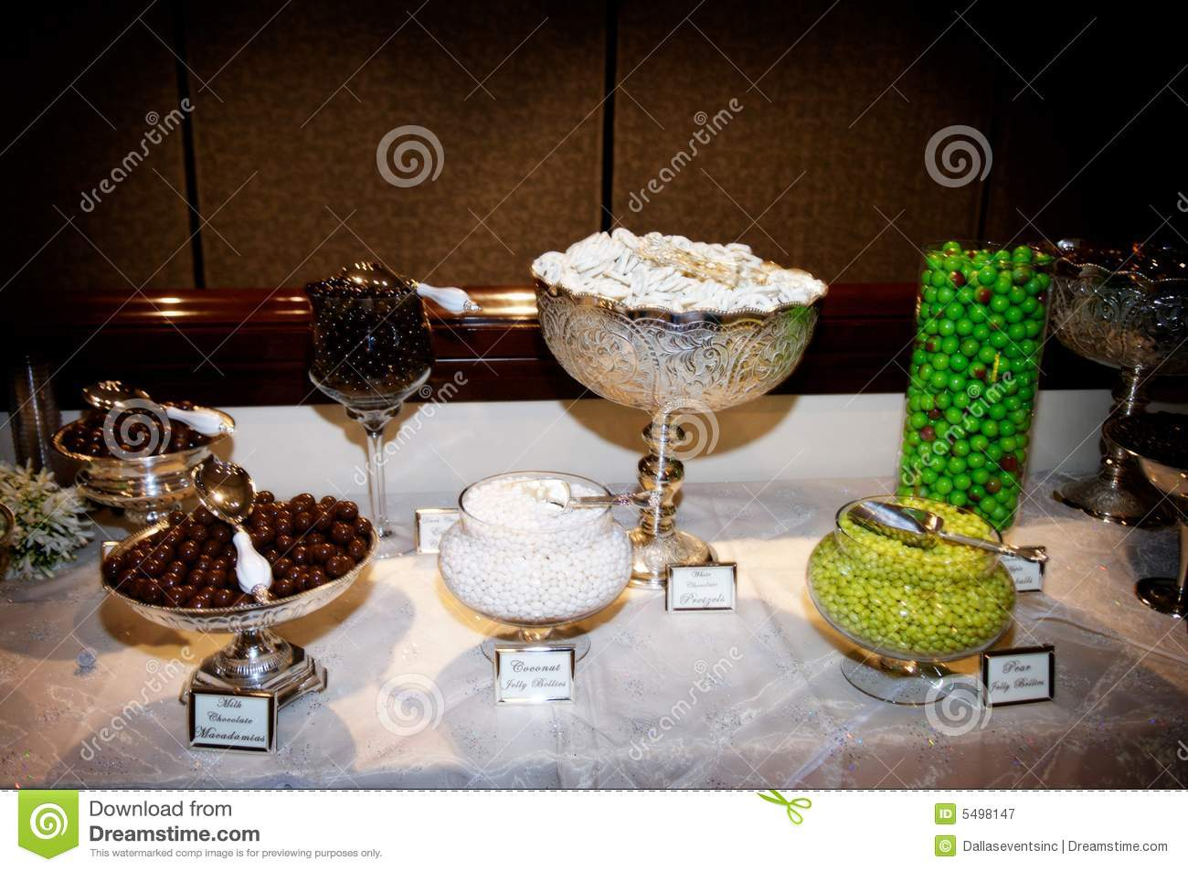 Elaborate candy bar at wedding reception stock image for Candy bar for weddings receptions