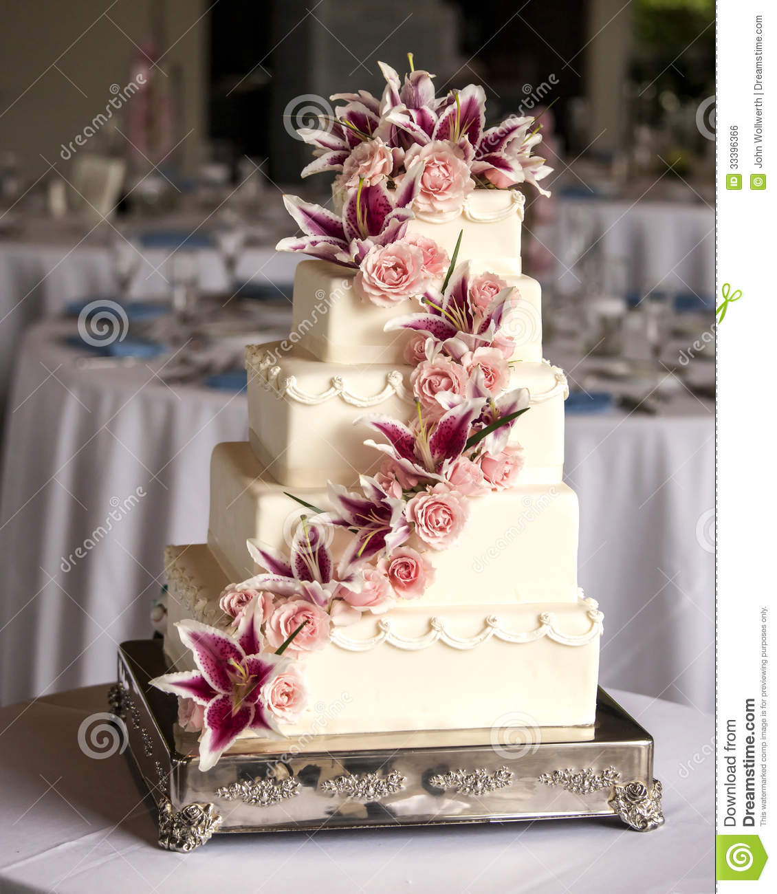 Elaborate Five Tiered Wedding Cake Stock Photo - Image of bridal ...