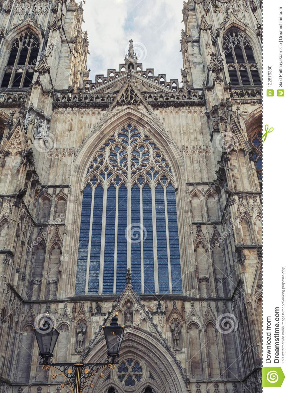 Elaborate tracery on exterior building of York Minster, the historic  cathedral built in English gothic architectural style located in City of  York, England, ...