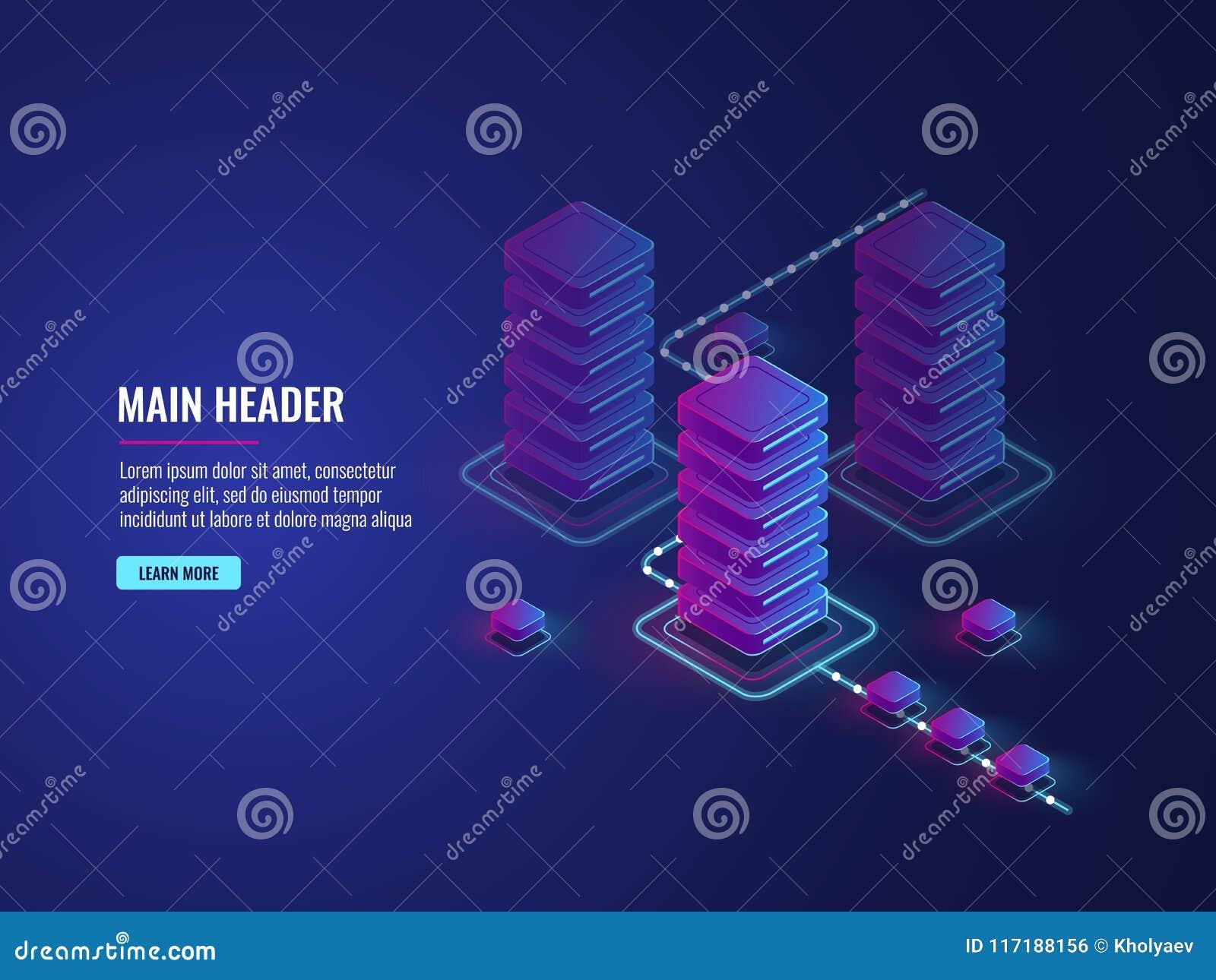 Elaborazione di flusso di dati, processo di crittografia e di protezione dei dati, stanza del server, centro dati e base di dati