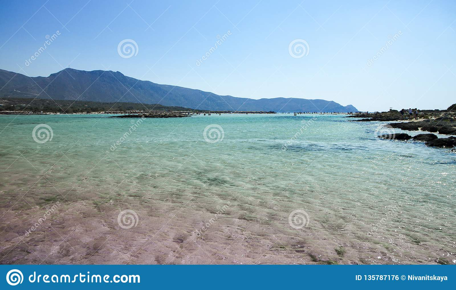 Elafonisi Beach With Pink Sand On Crete Greece Stock Photo