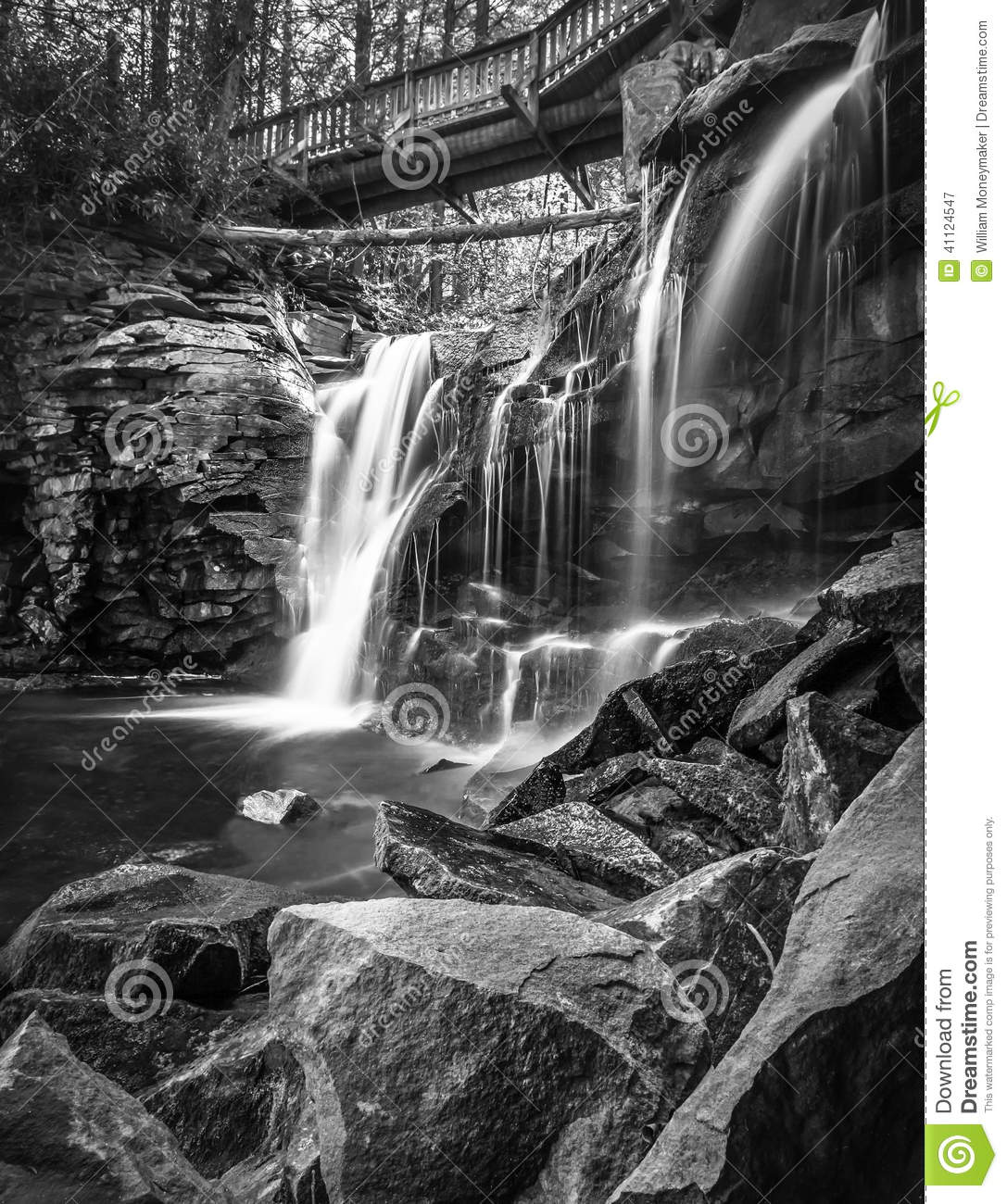 Black and white scenic view of elakala waterfalls in blackwater falls state park west virginia u s a