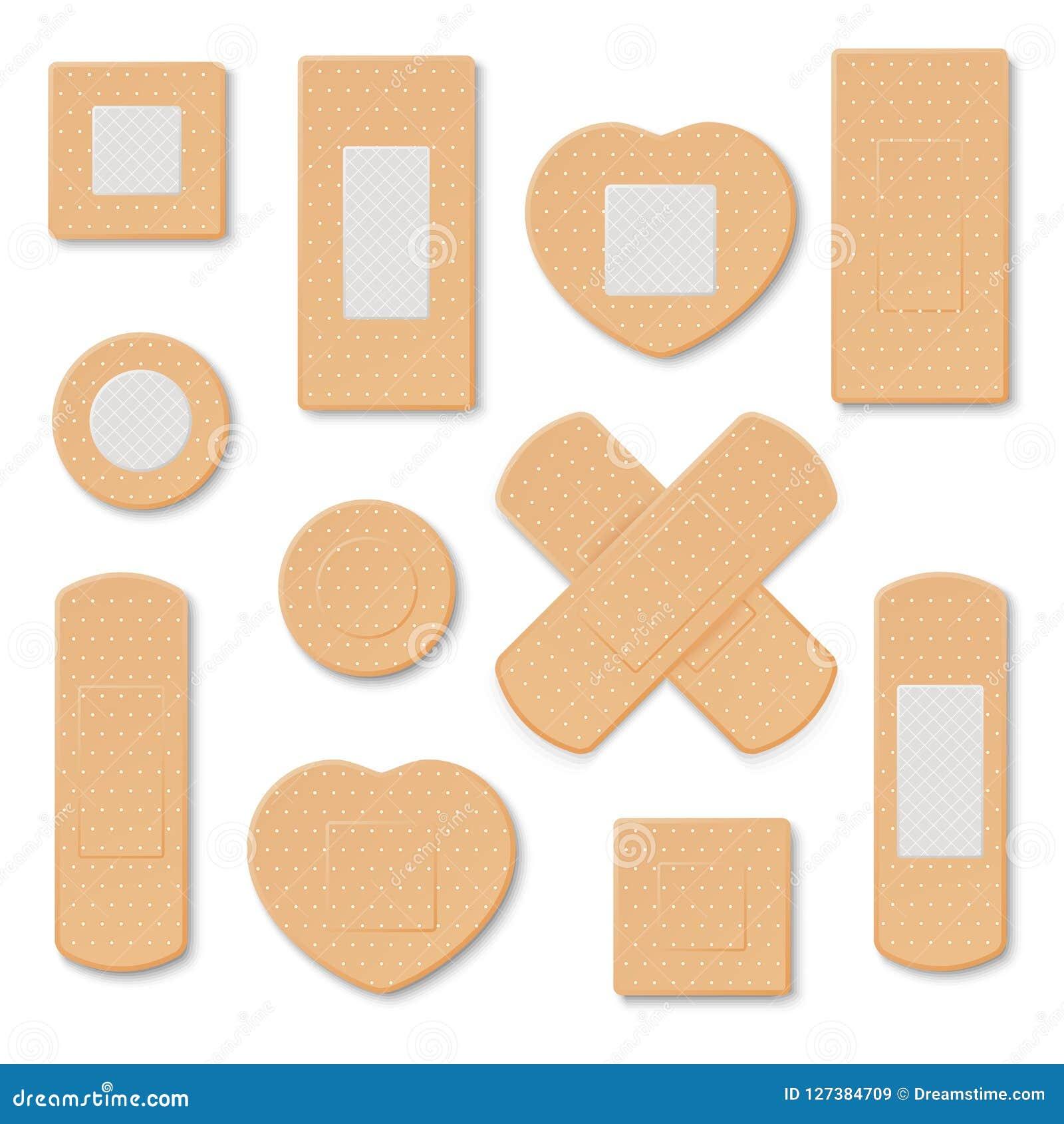 Elastyczni medyczni tynki Ilustracja medyczny tynk, elastyczna bandaż łata