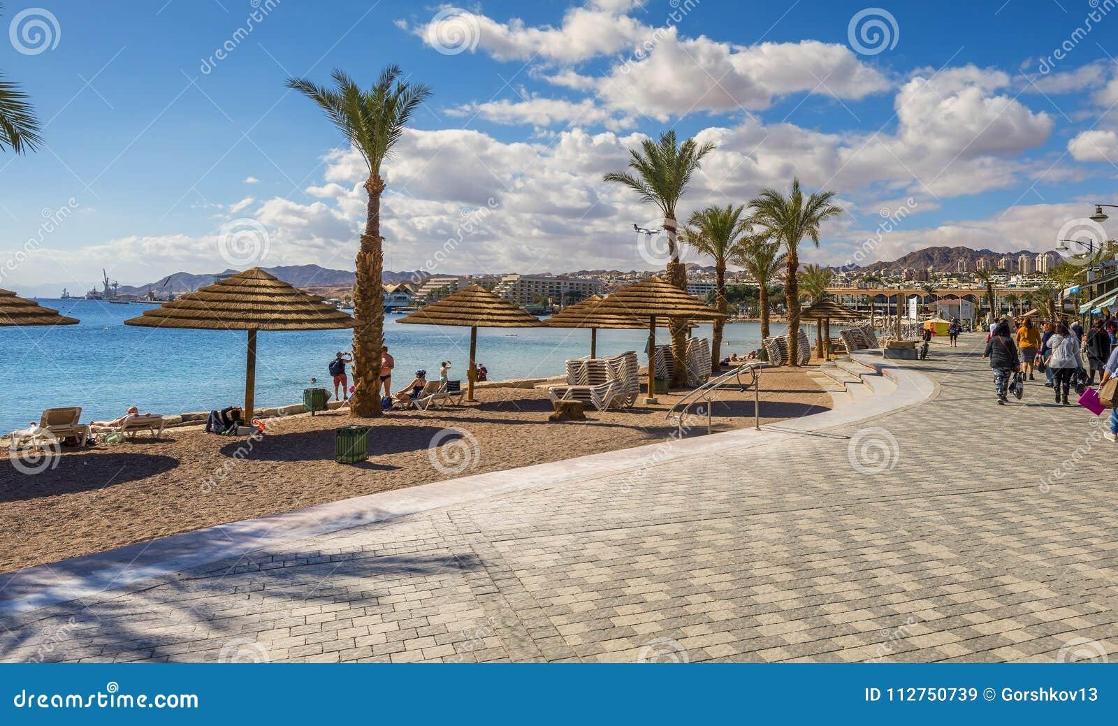 Elat Israel 15 Januar 2018 Zentrale Promenade In Elat Israel