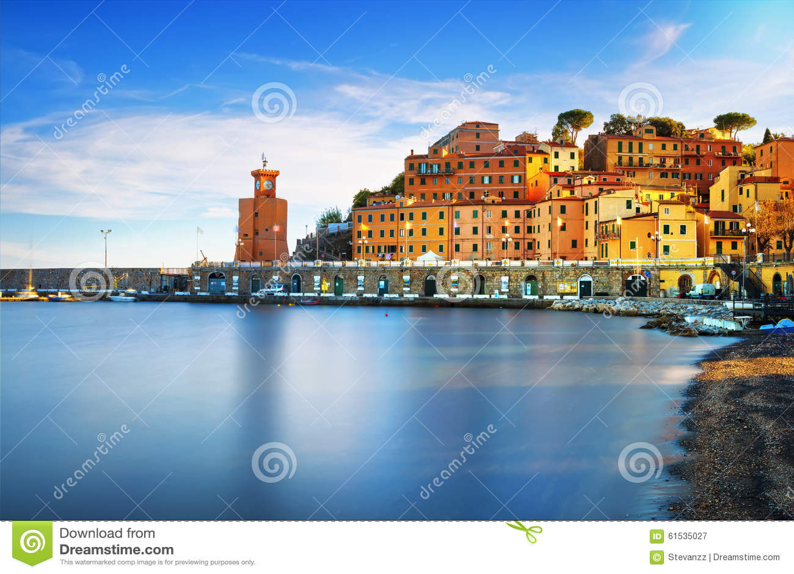 Elba island, Rio Marina village bay. Bay beach and lighthouse. T