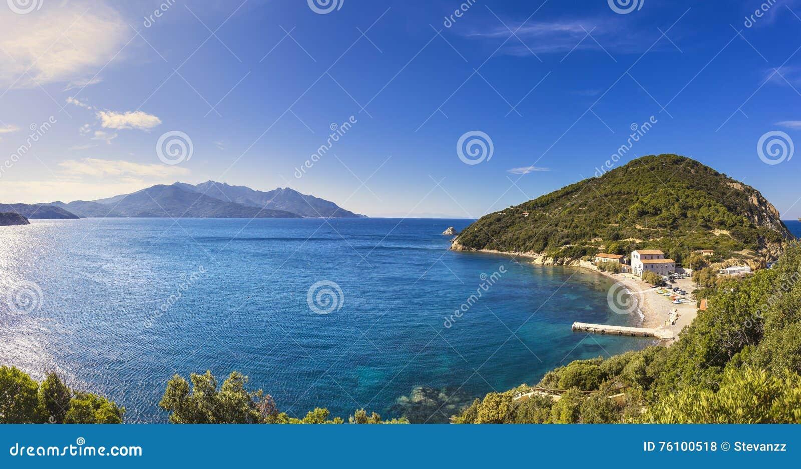 Elba island sea, Portoferraio Enfola headland beach and Capanne
