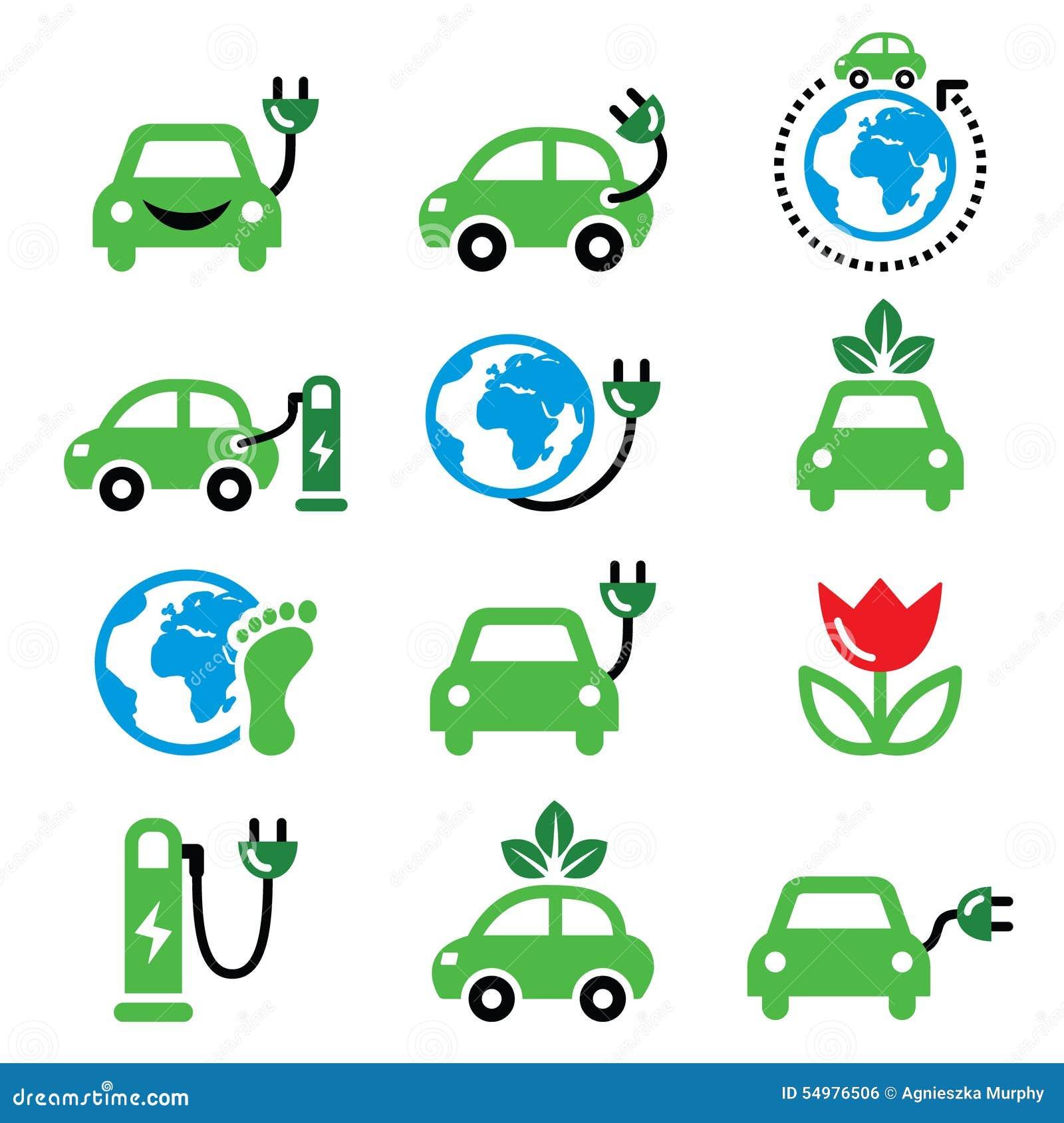 Elbil-, gräsplan- eller ecotransportsymboler ställde in