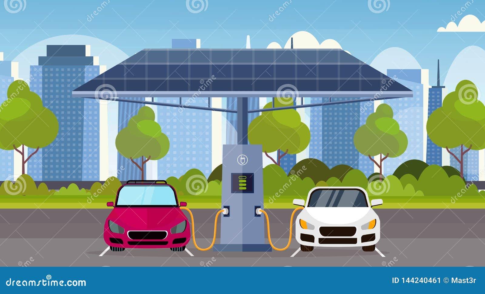 Elbilar som laddar p? station f?r elektrisk laddning med omsorg f?r milj? f?r transport f?r f?rnybar eco f?r solpaneler v?nlig