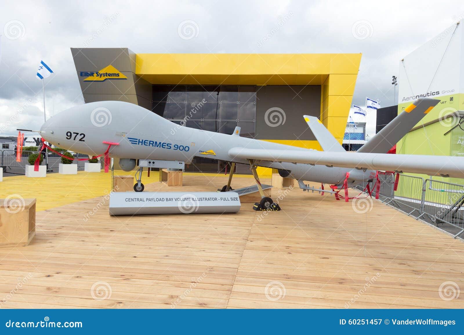 5d9b53f0a077b2 PARIS-LE BOURGET - JUN 18, 2015  Elbit Systems Hermes 900 unmanned aerial  vehicle (UAV) at the 51st International Paris Air show