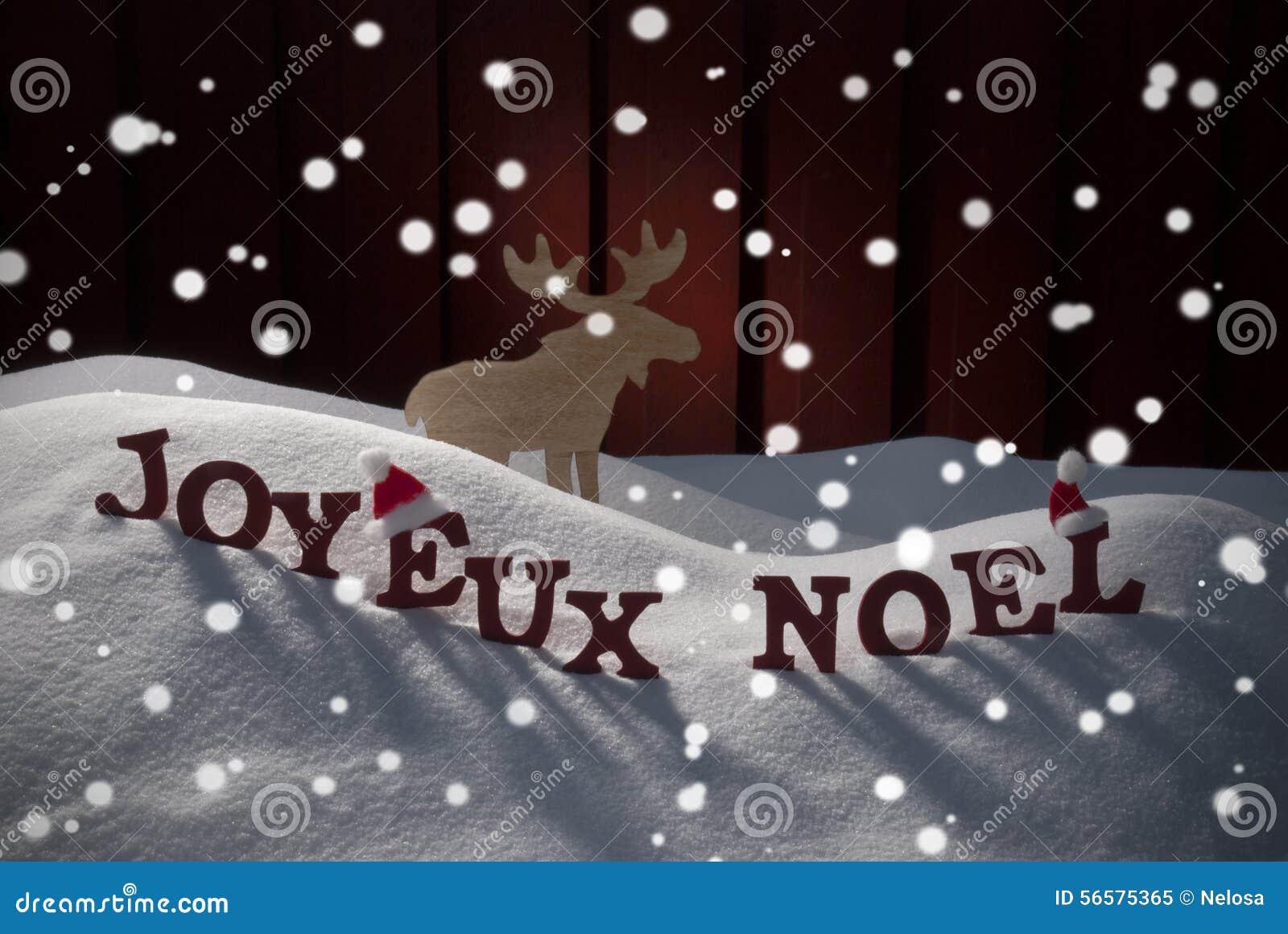 Elche Joyeux Noel Means Merry Christmas With Stockbild - Bild von ...
