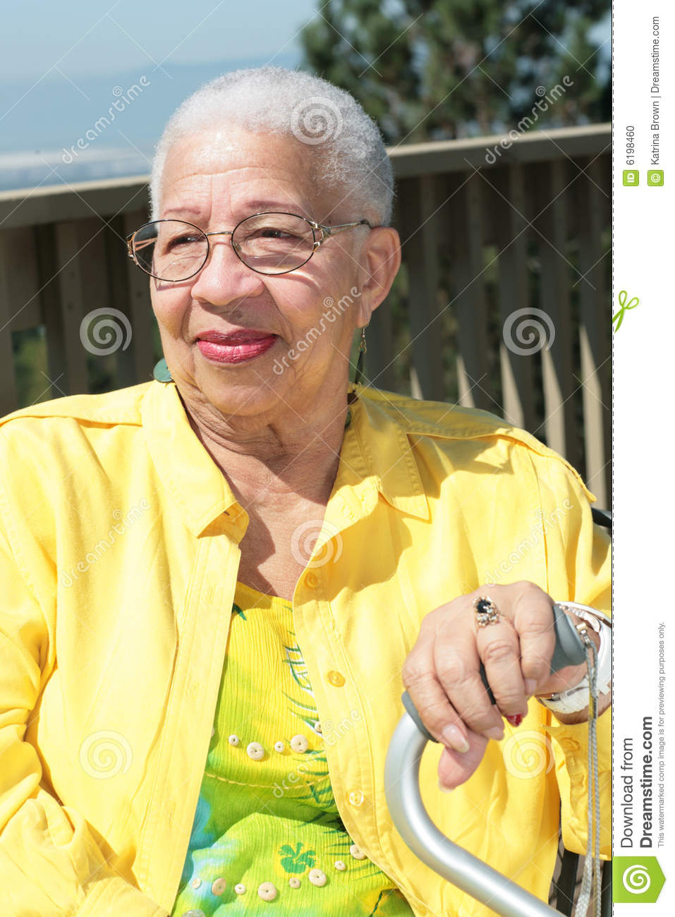 Elderly African American Woman Resting With Her Ca