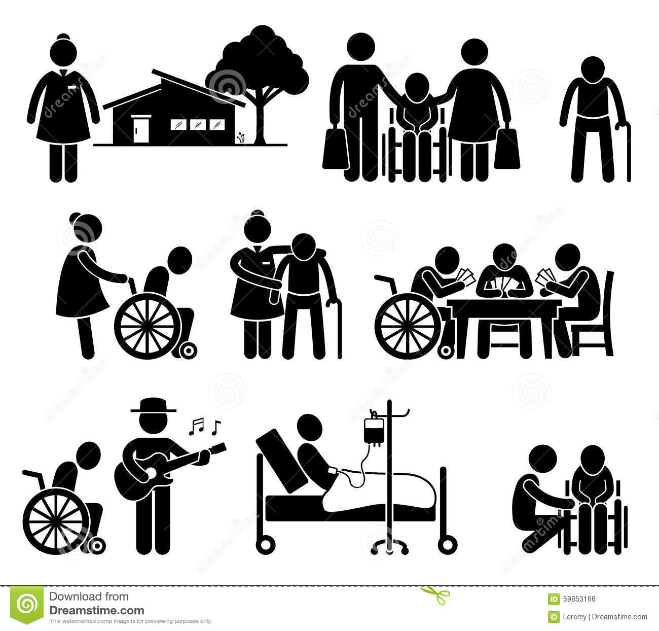 Elderly Care Nursing Retirement Home Cliparts Stock Vector - Image ...