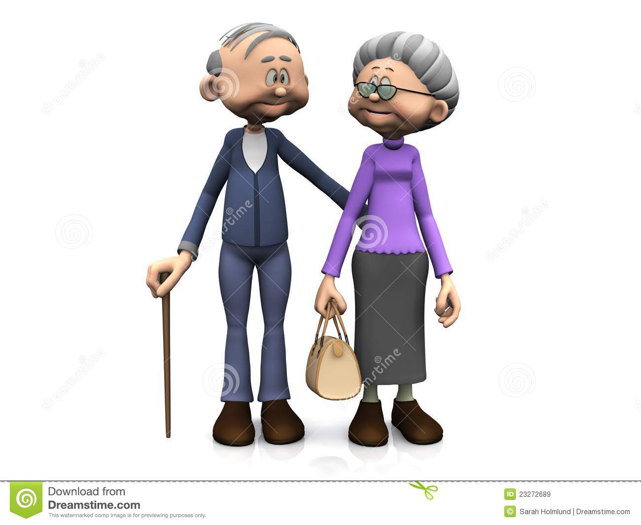 sweet old cartoon man and woman smiling and looking at eachother ...