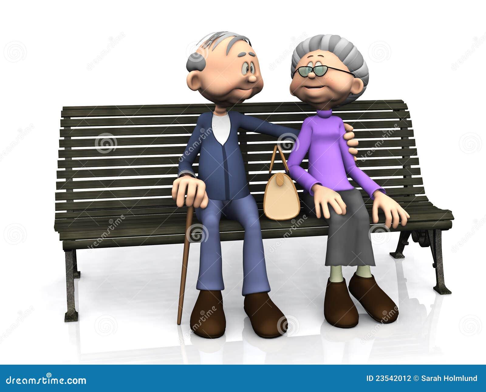 Elderly Cartoon Couple On Bench. Stock Photography - Image ...