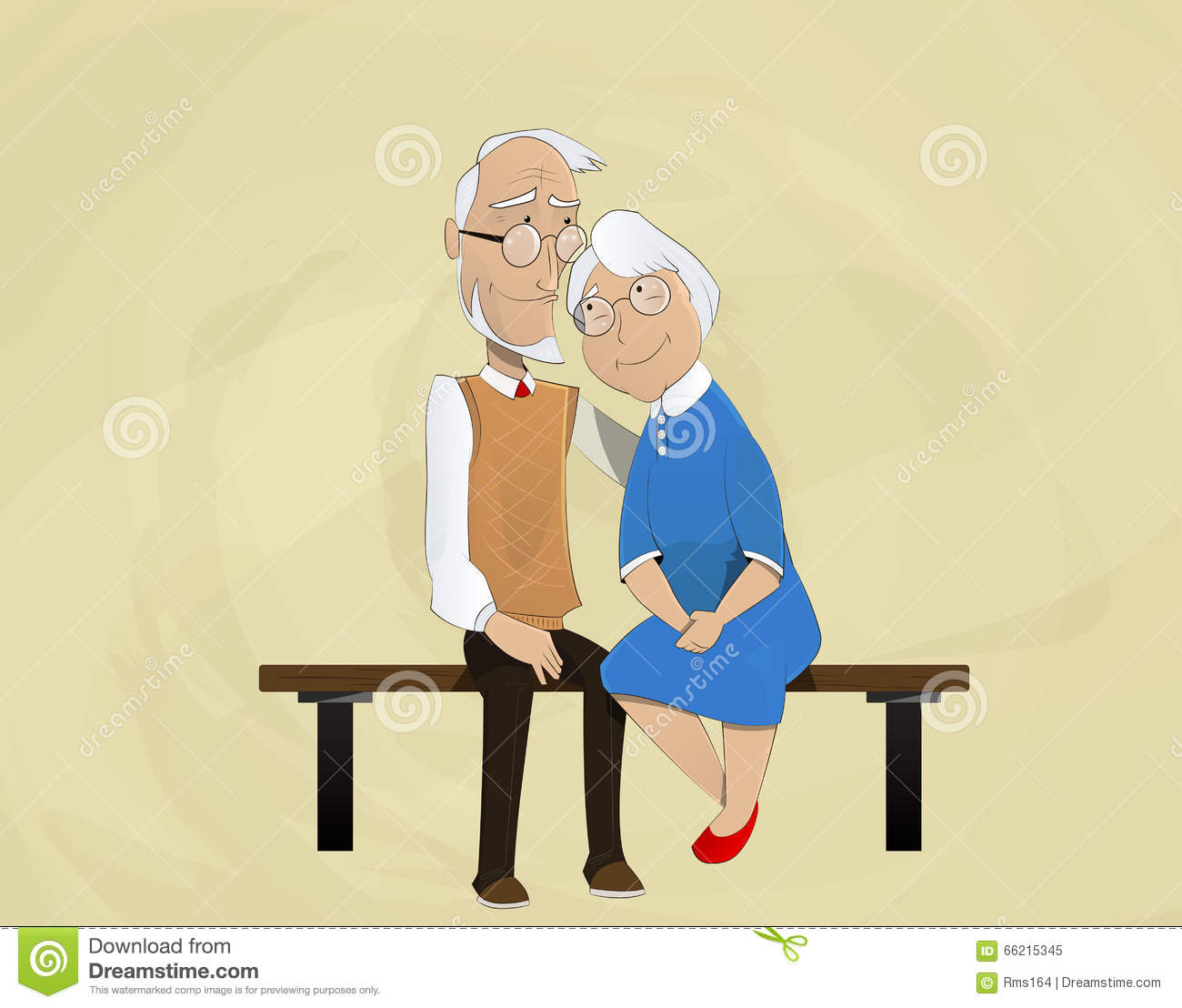old couple in love sitting on bench vector illustration