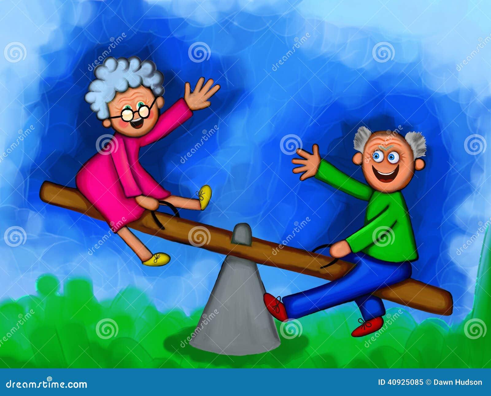 Elderly Couple Feeling Young Again Stock Illustration