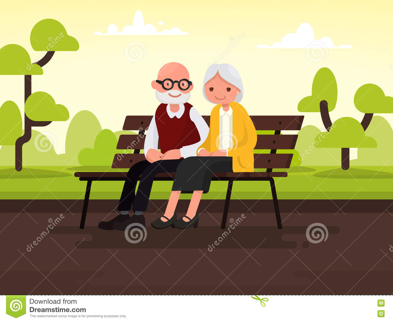 elderly cartoon couple on bench  royalty