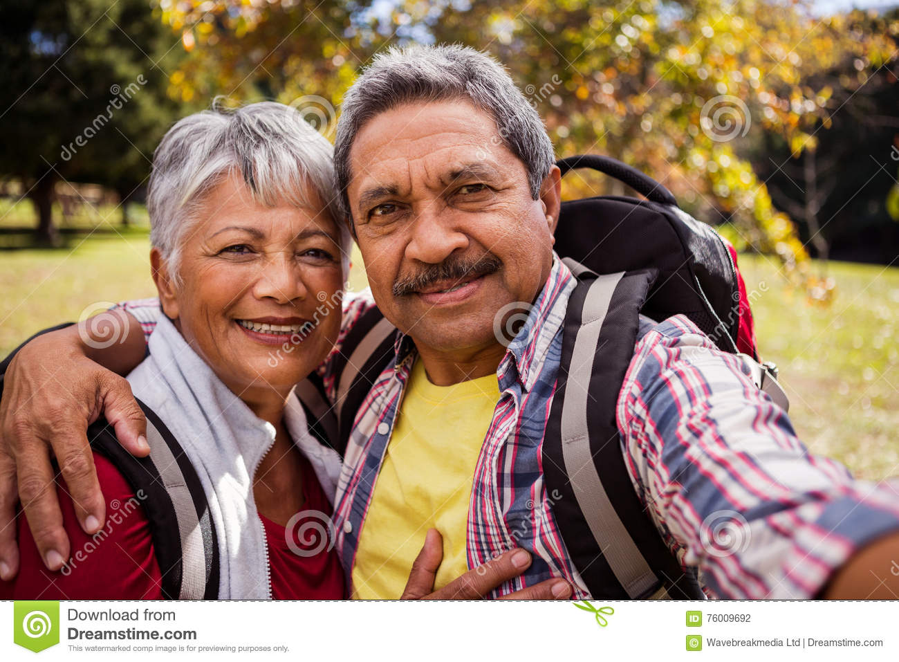 Download An Elderly Couple Posing For A Selfie Stock Photo
