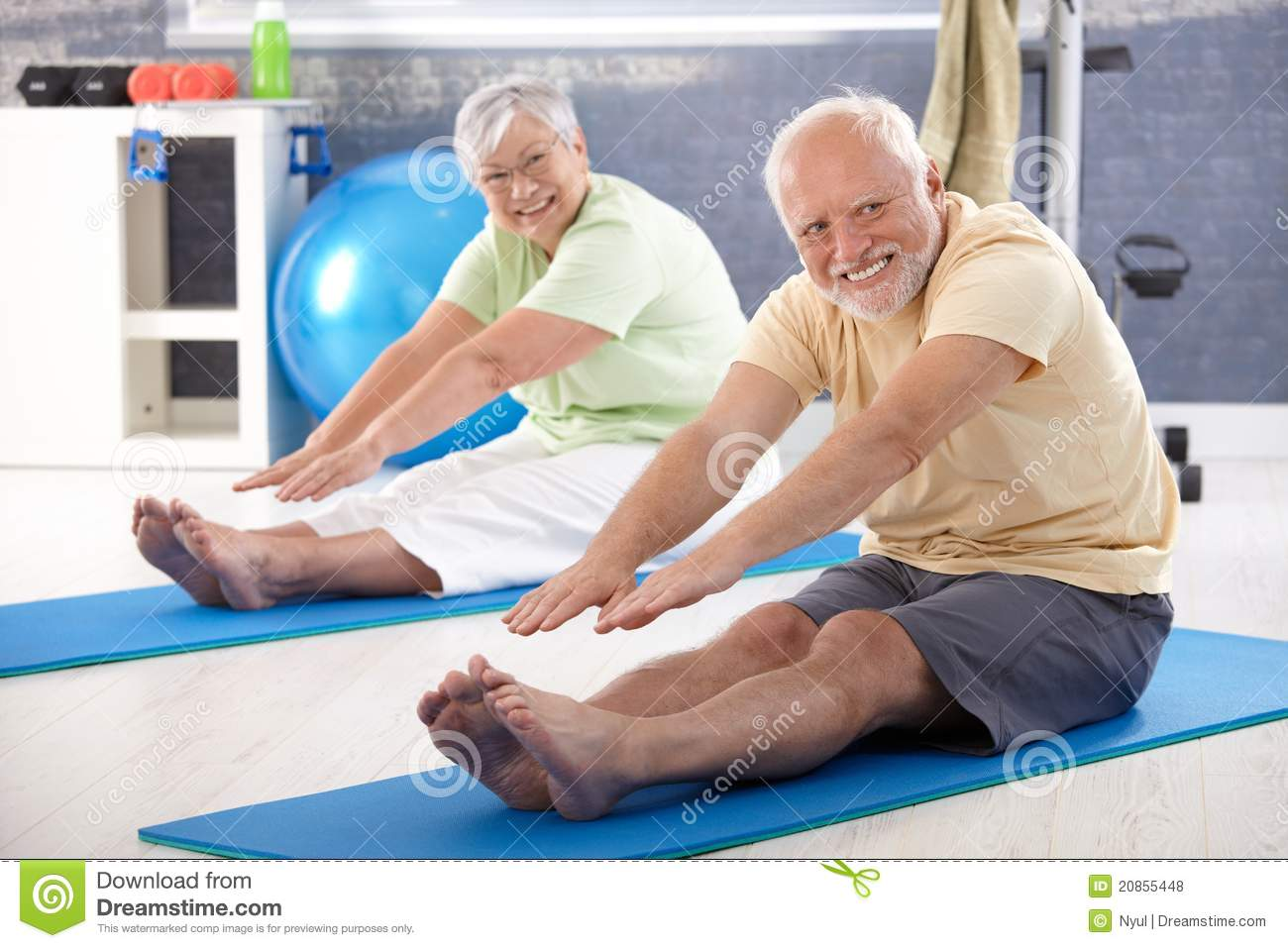 Elderly Couple Stretching Stock Photo Image Of Hair 20855448
