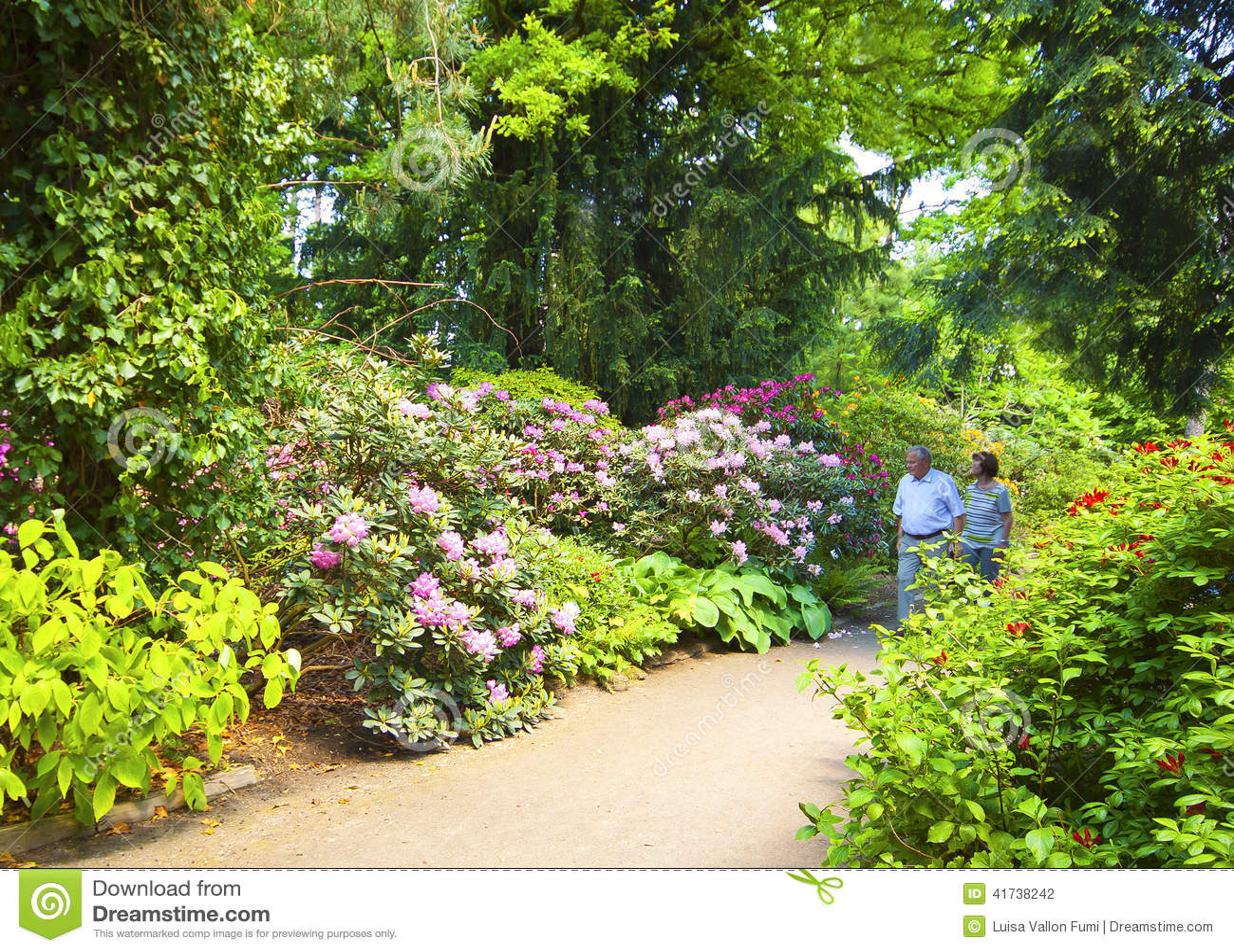 Elderly Couple Take A Walk In Munich Botanical Garden Editorial Photography - Image: 41738242