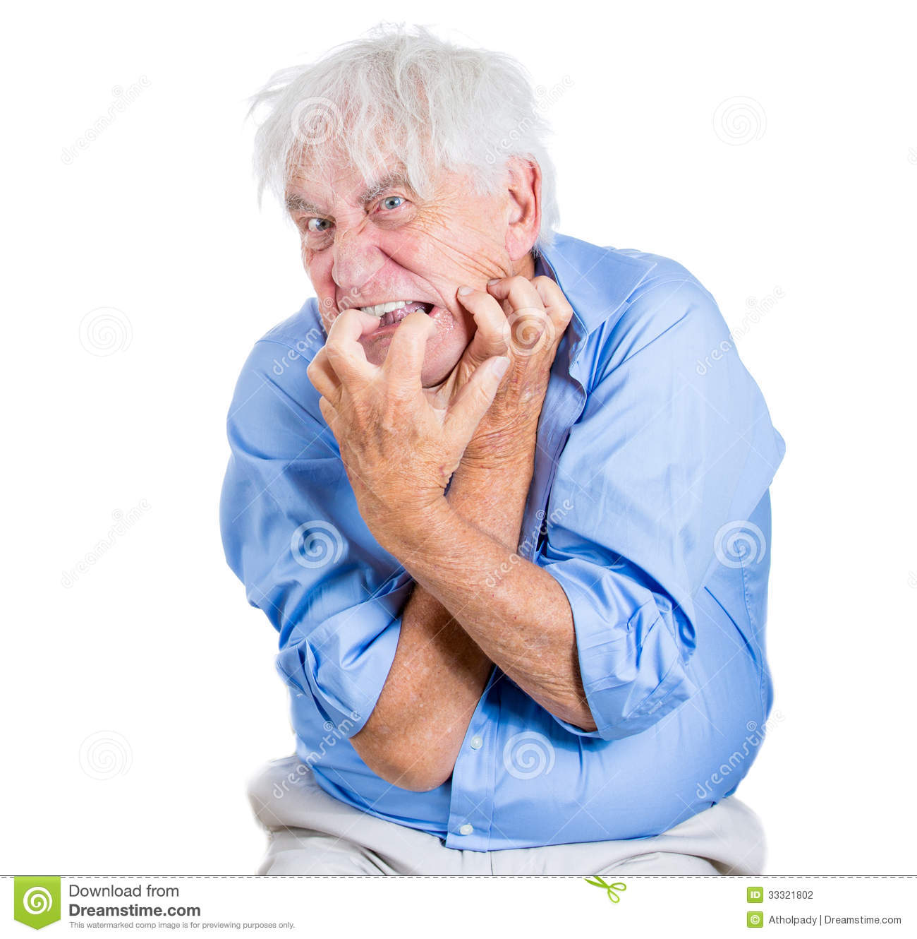 Eldely With No Fan : Elderly desperate mad crazy looking man biting his