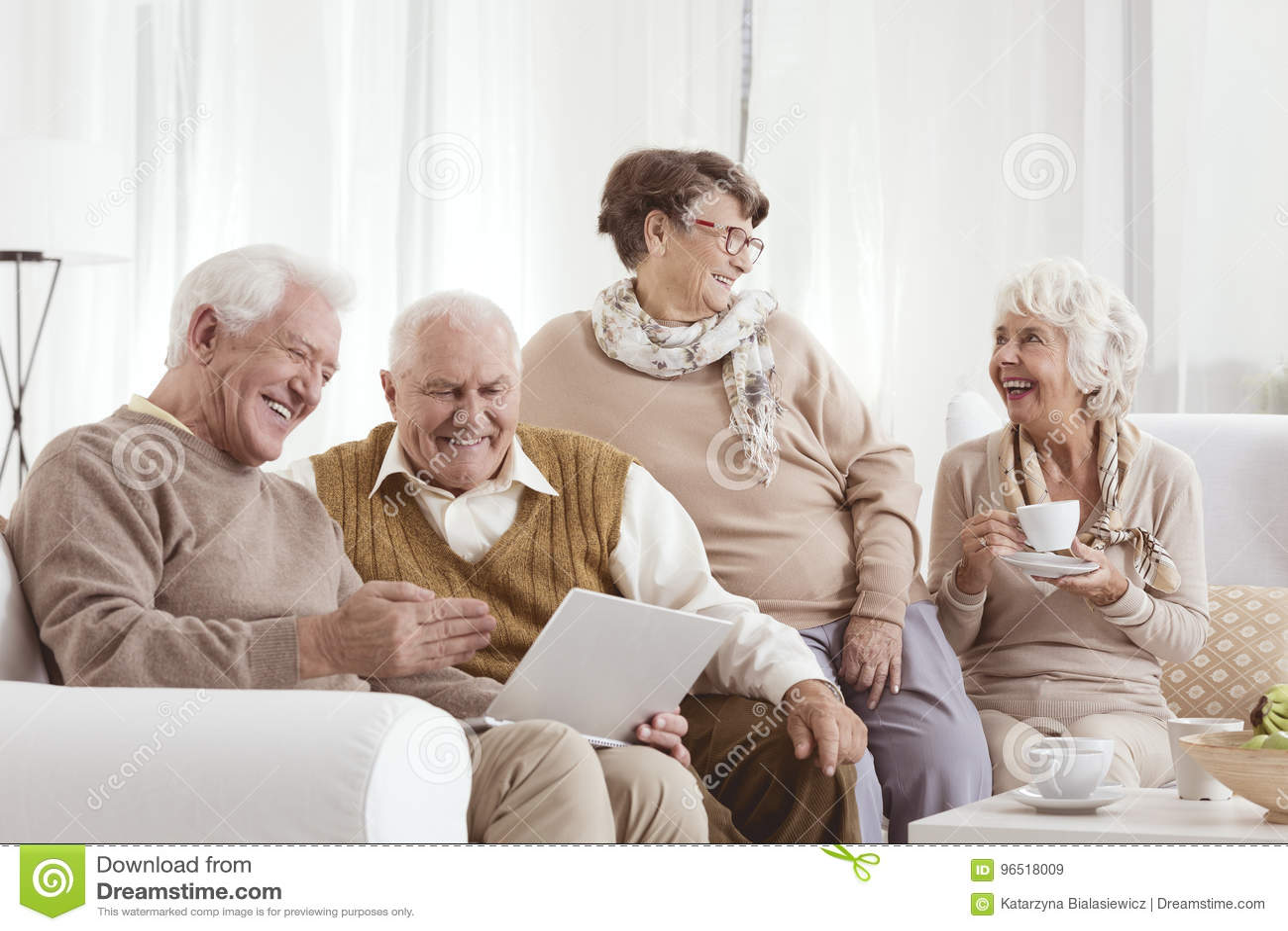 Elderly friends relaxing