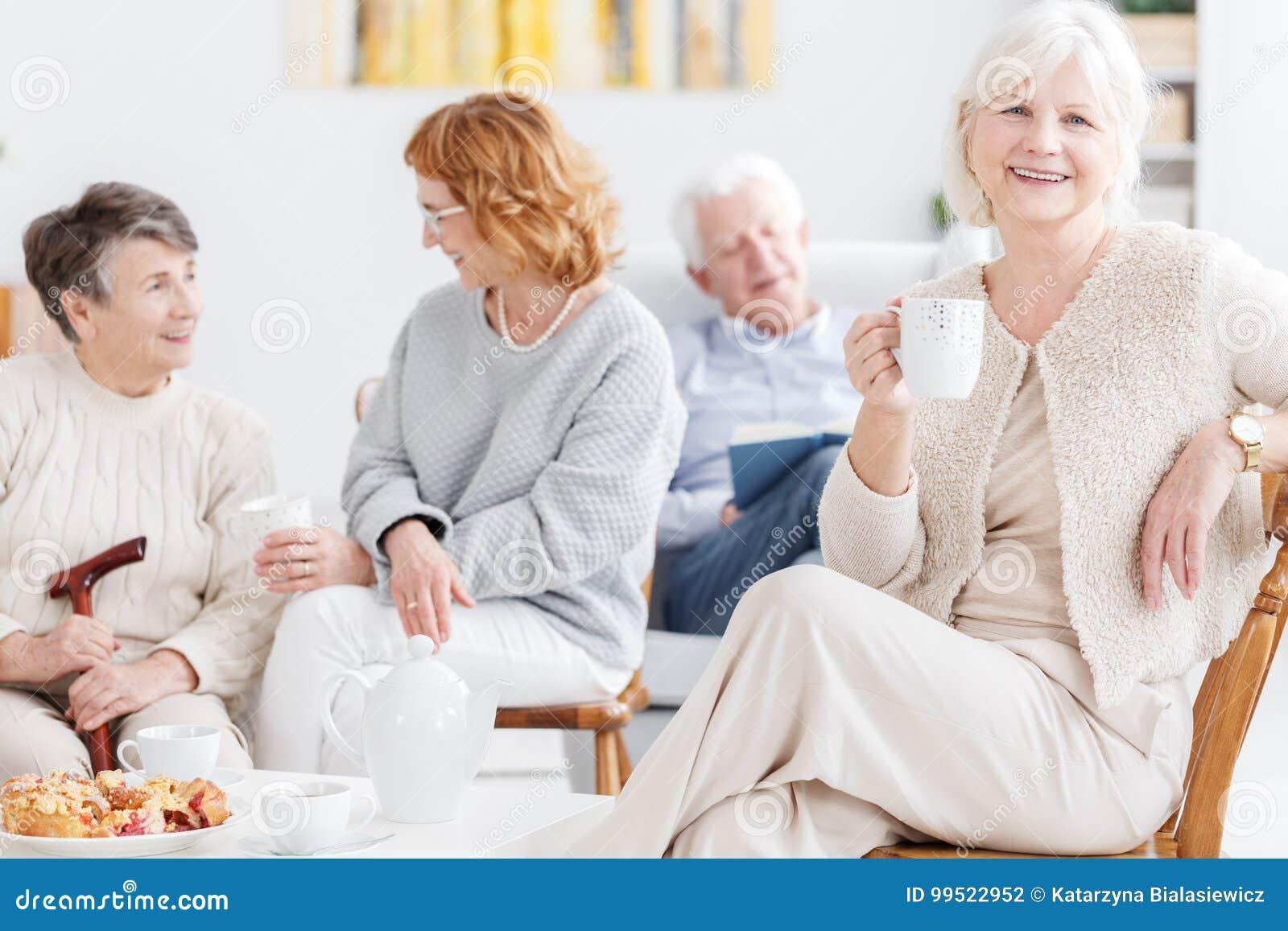 Elderly friends spending afternoon together