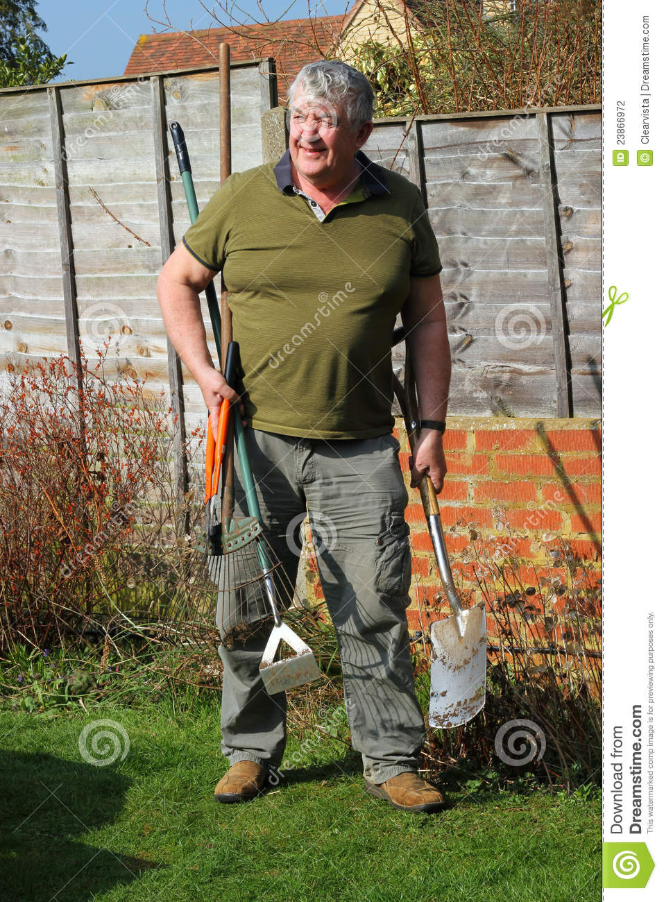 Elderly Gardener And His Tools Stock Photography Image