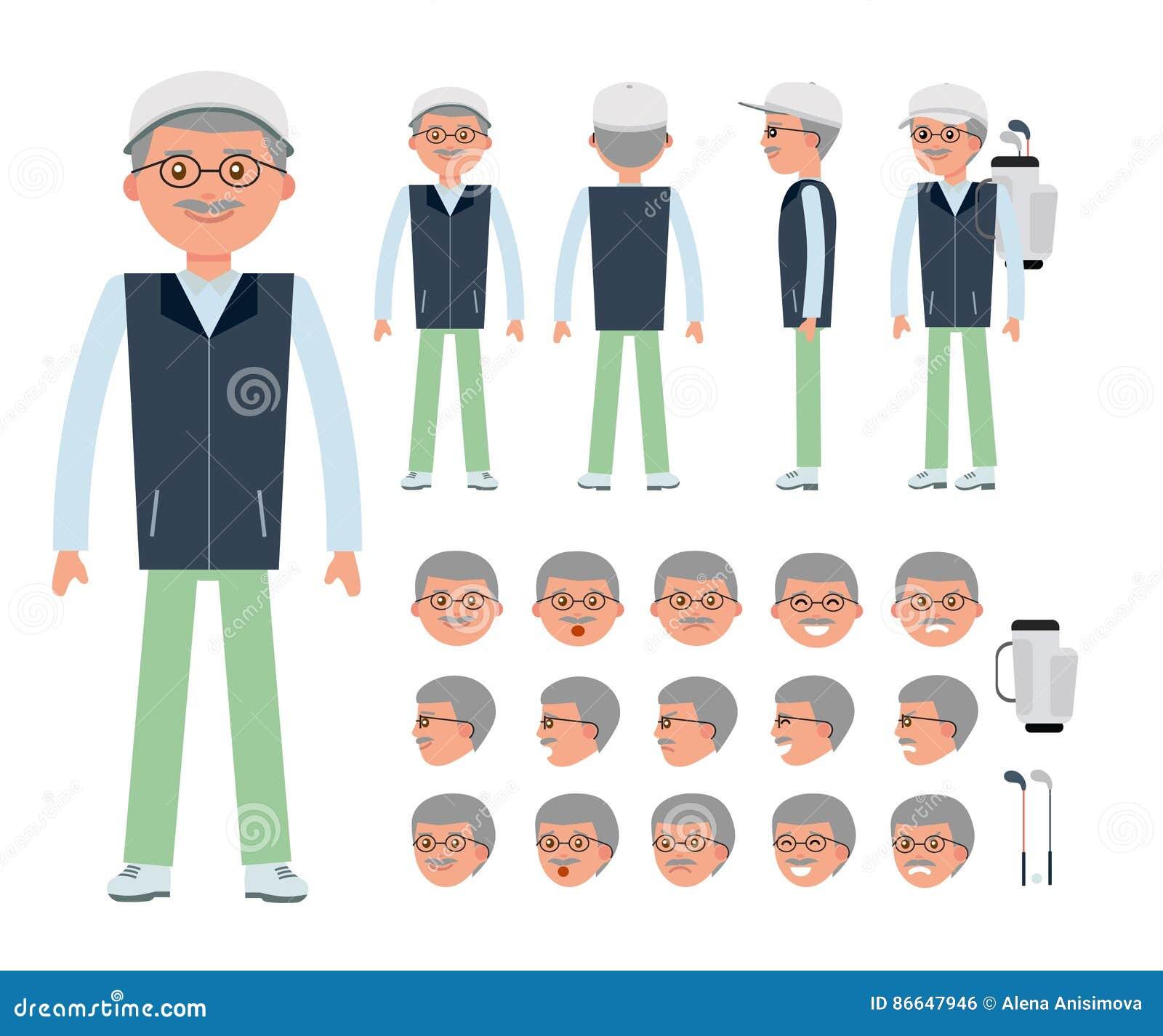 An Elderly Golfer  Man Character Creation Set  Stock Vector