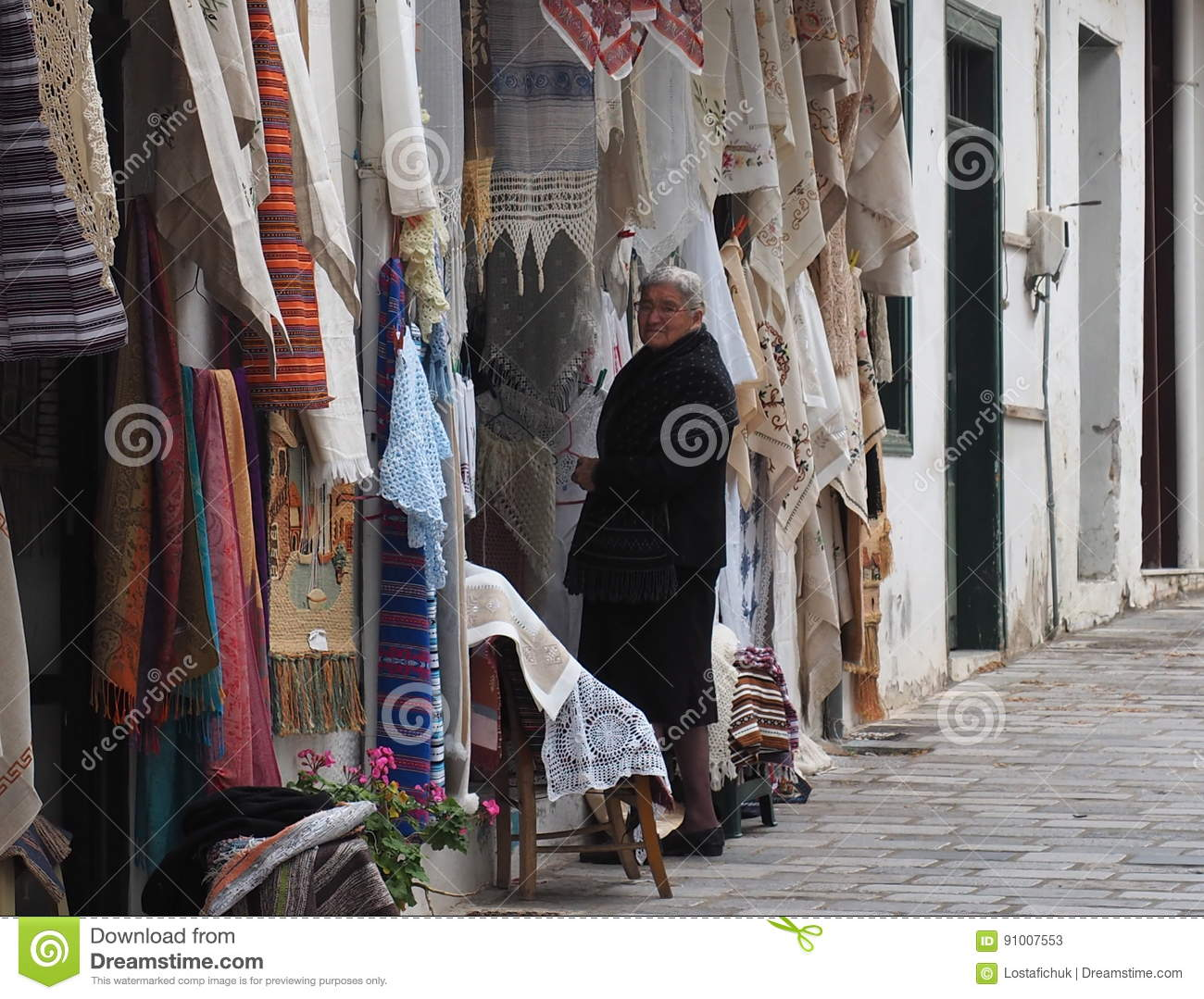Elderly Greek Lady In Kritsa, Crete Editorial Stock Photo