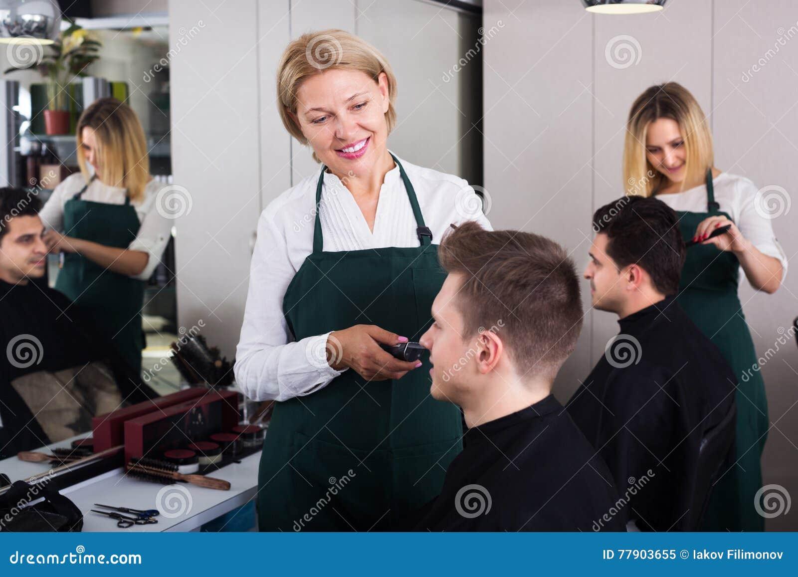 Strange Elderly Hairdresser Serving Teenager Stock Image Image Of Download Free Architecture Designs Rallybritishbridgeorg