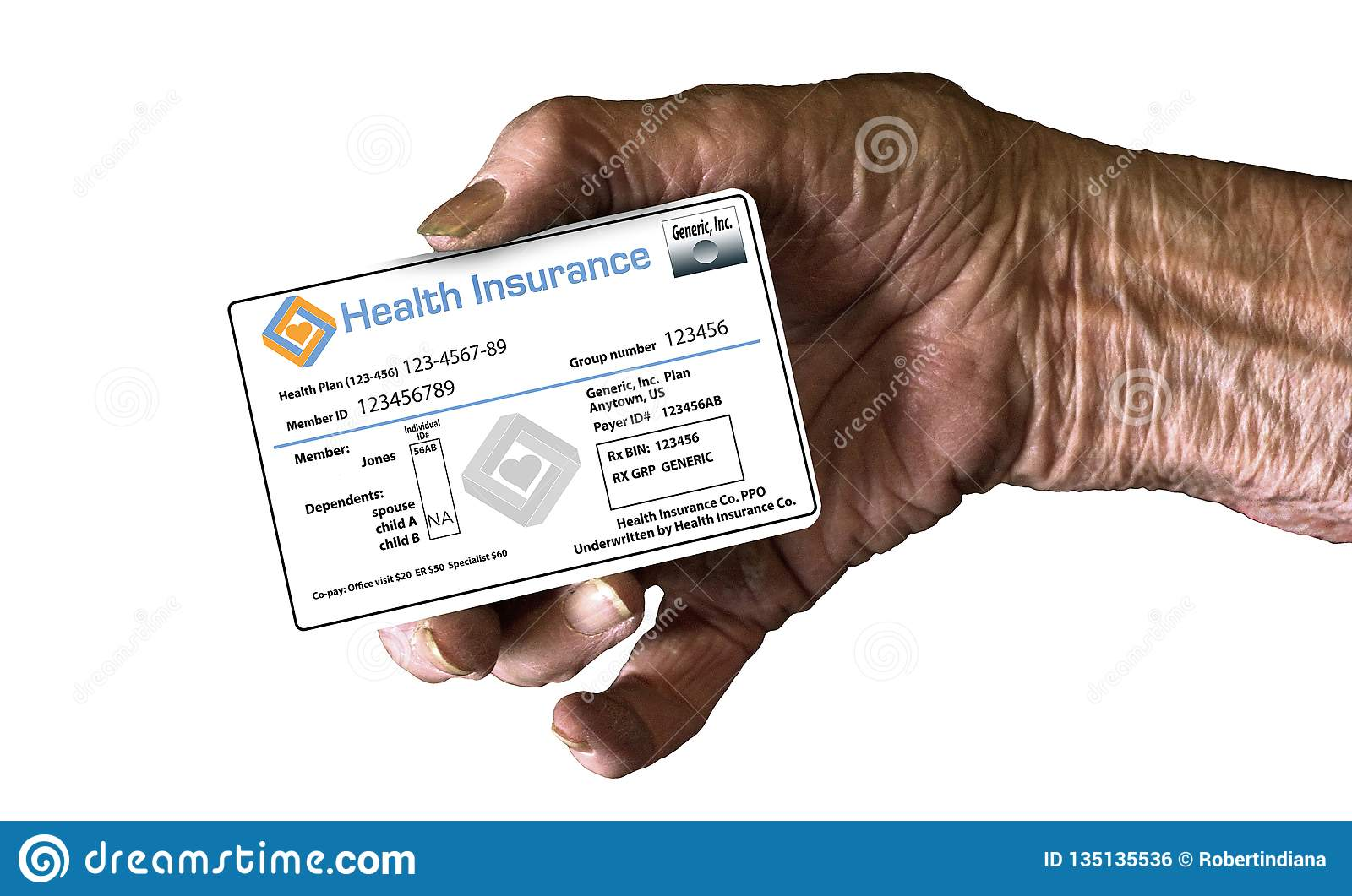 An elderly hand holds a medical insurance ID card to illustrate healthcare