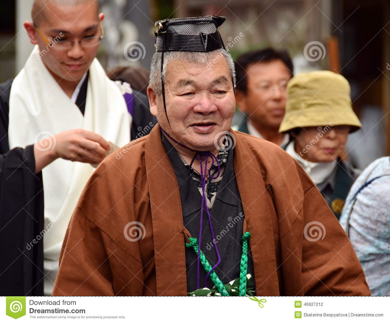 Elderly Japanese man in formal Shinto priest attire